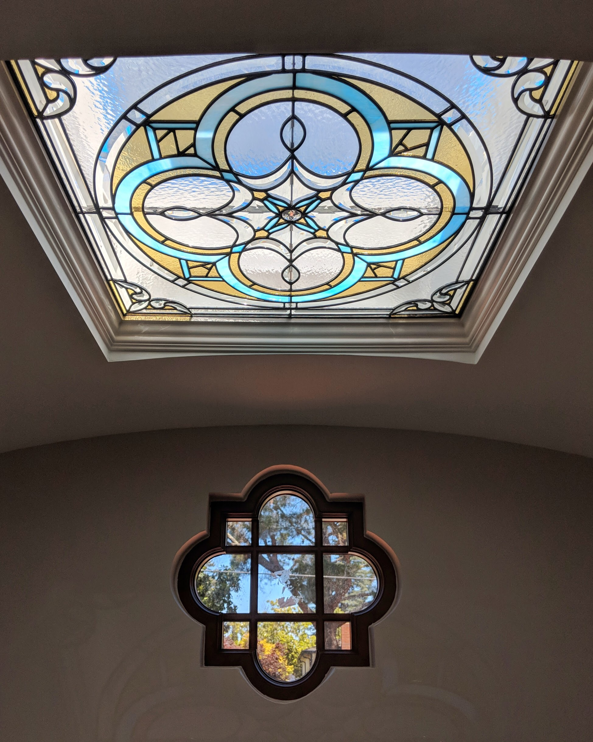 leaded glass stained glass custom design california legacy glass studios spanish quatrefoil design colorful beveled glass skylight rainbows spectrum.JPG