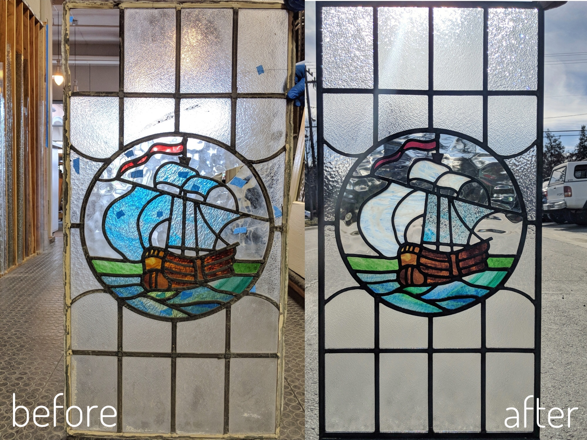 stained glass leaded glass design legacy glass studios menlo park bay area california stained glass repair before and after sailboat reclaimed window.JPG