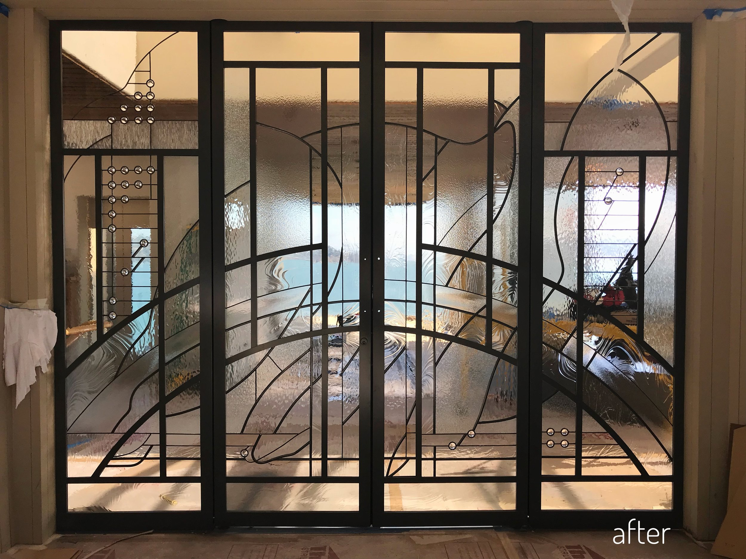 stained glass entry update renovation clear textured spectrum glass sausalito bay area view before and after front door sidelight 70s charm the wiseman group TWG legacy glass studios fontana construction2.jpg