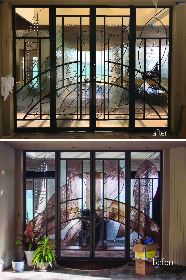 stained glass entry update renovation clear textured spectrum glass sausalito bay area view before and after front door sidelight 70s charm the wiseman group TWG legacy glass studios fontana construction3.jpg