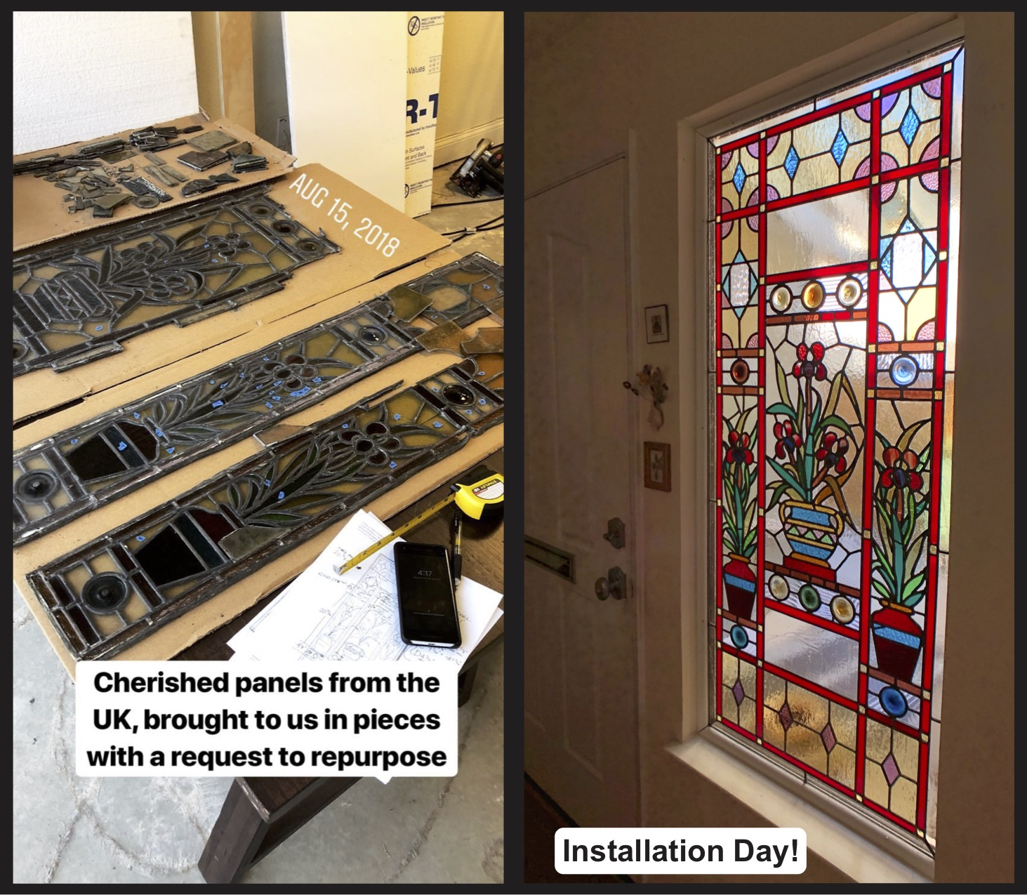 victorian era stained glass restoration british charm rondel floral before and after leaded glass legacy glass studios california front entry sidelight colorful custom glass repair installation.jpg