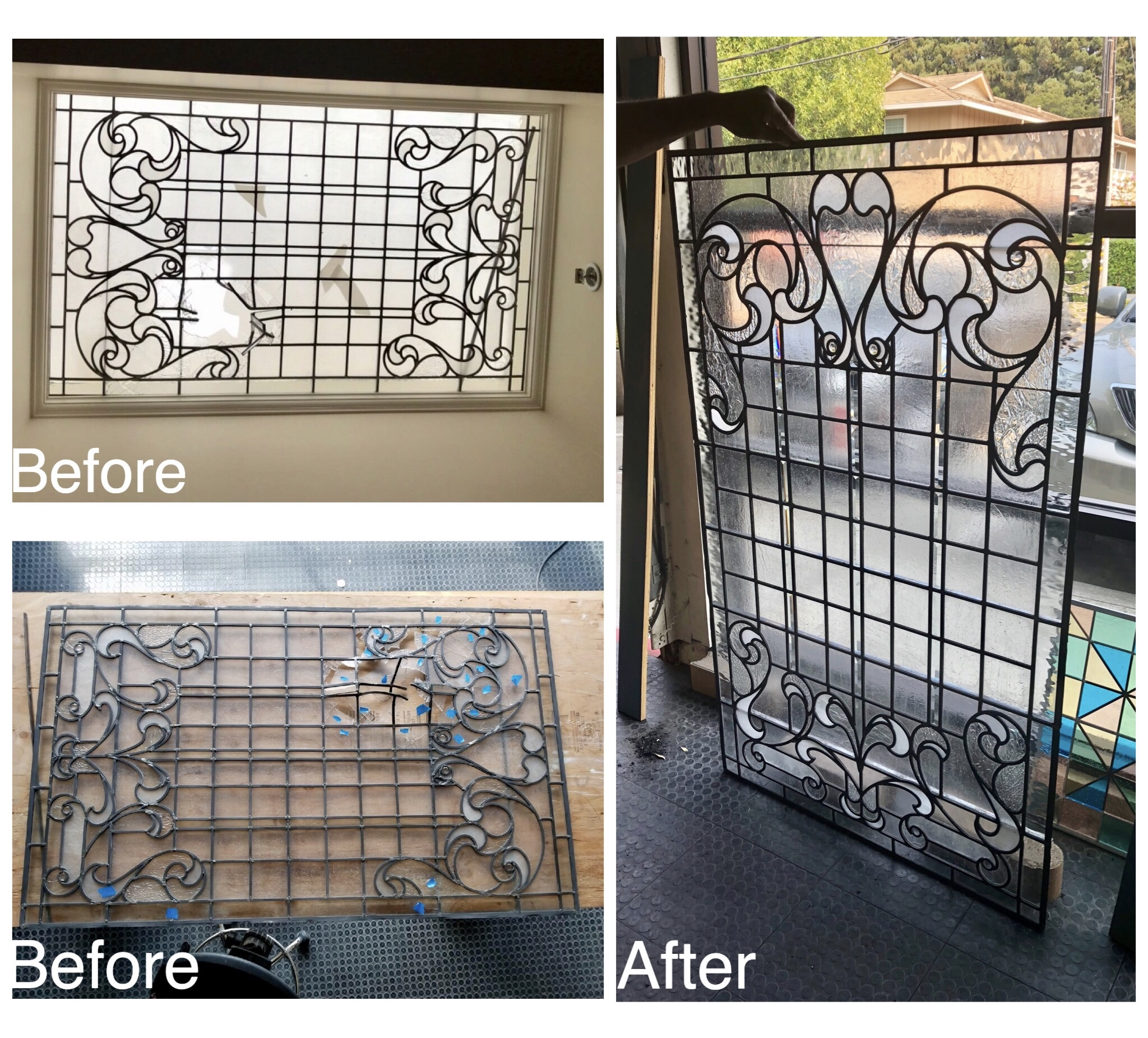 custom stained leaded glass repair skylight before and after legacy glass studios california art nouveau design.jpg