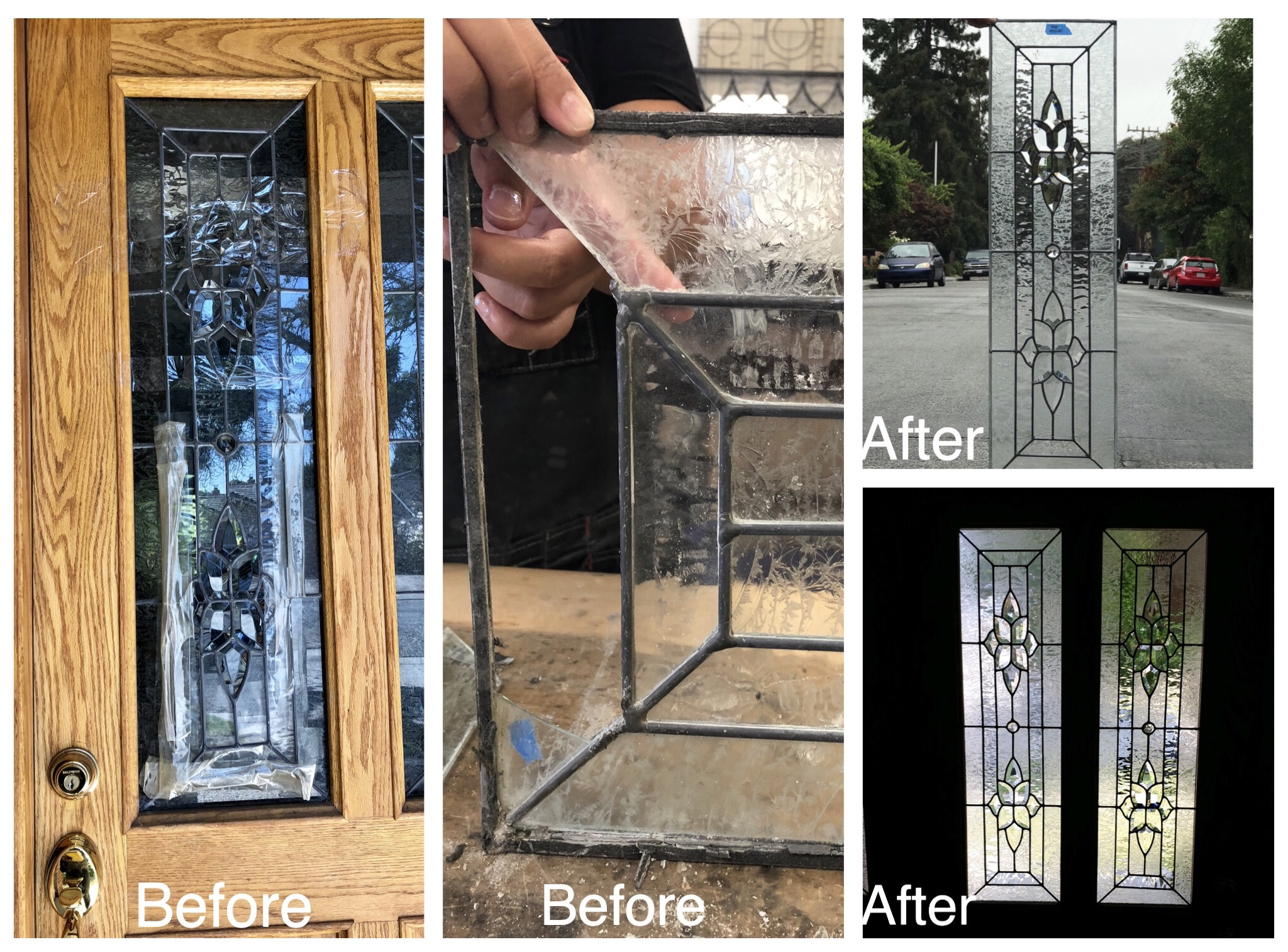 leaded glass front door repair beveled glass clear textured before and after legacy glass studios california.jpg