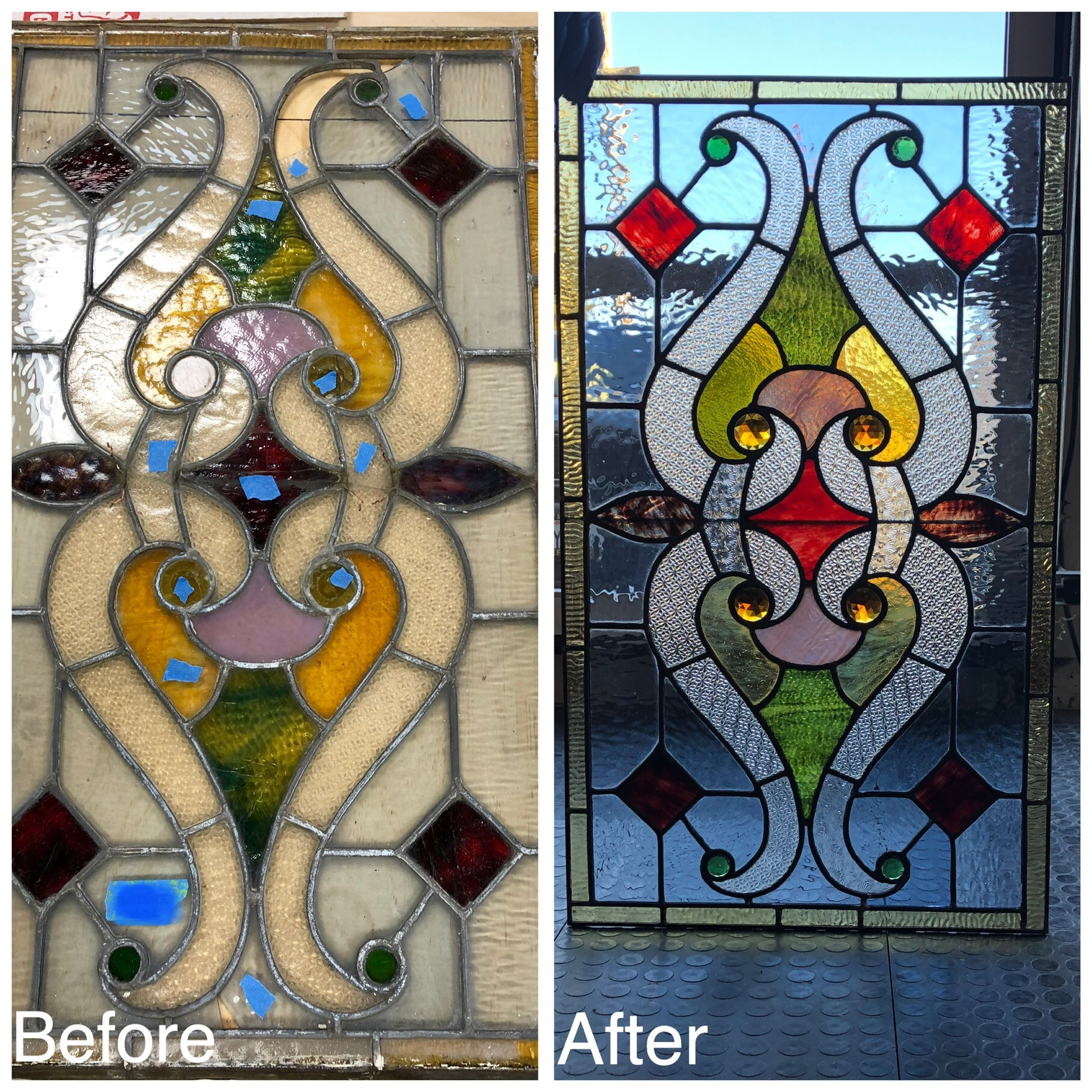 stained glass art glass bay area legacy glass studios antique glass old repair jewels red green yellow clear texture before after front door ripple blue translucent.jpg