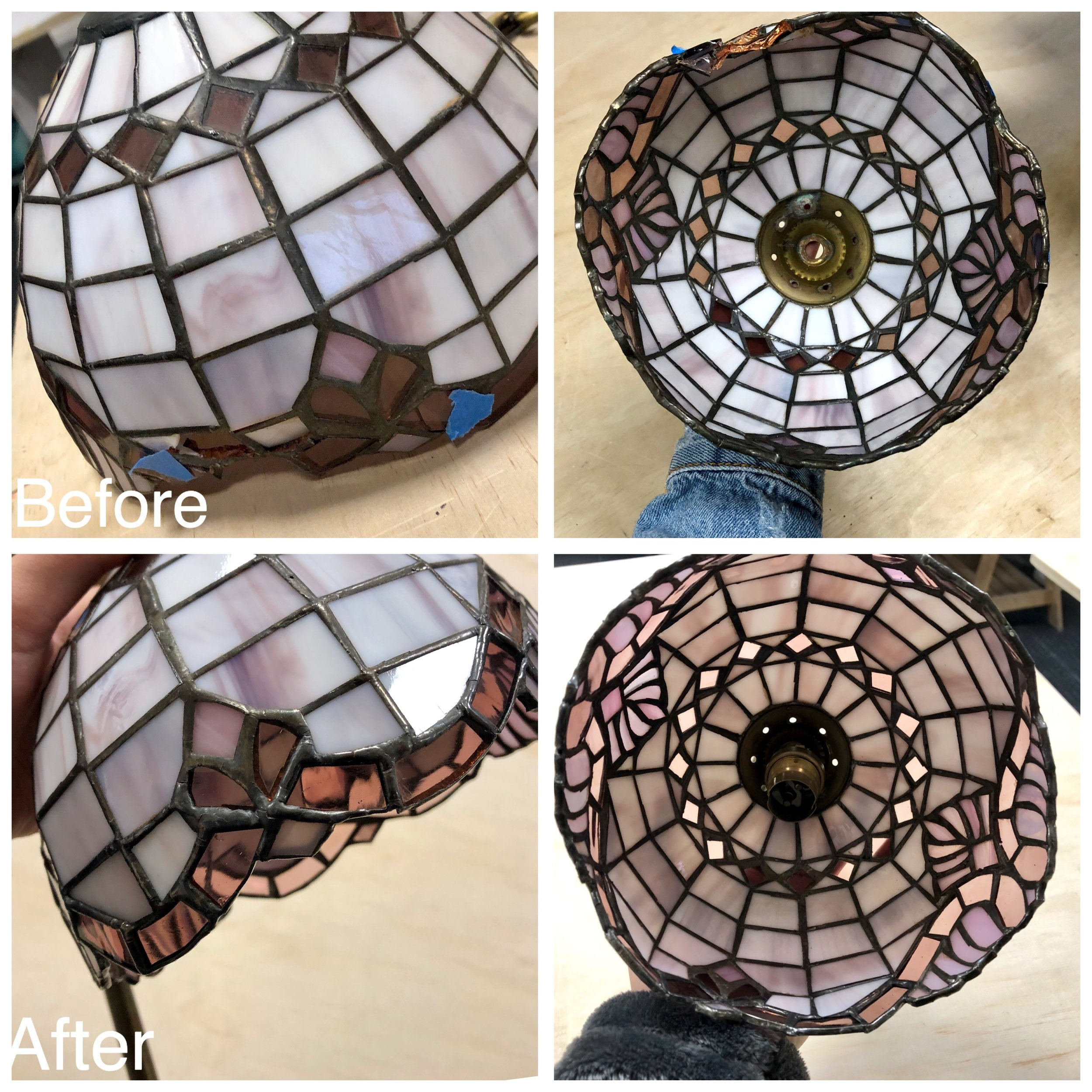 stained glass art glass bay area legacy glass studios antique glass old repair lampshade purple small traditional before after pink heirloom opaque translucent wispy.JPG