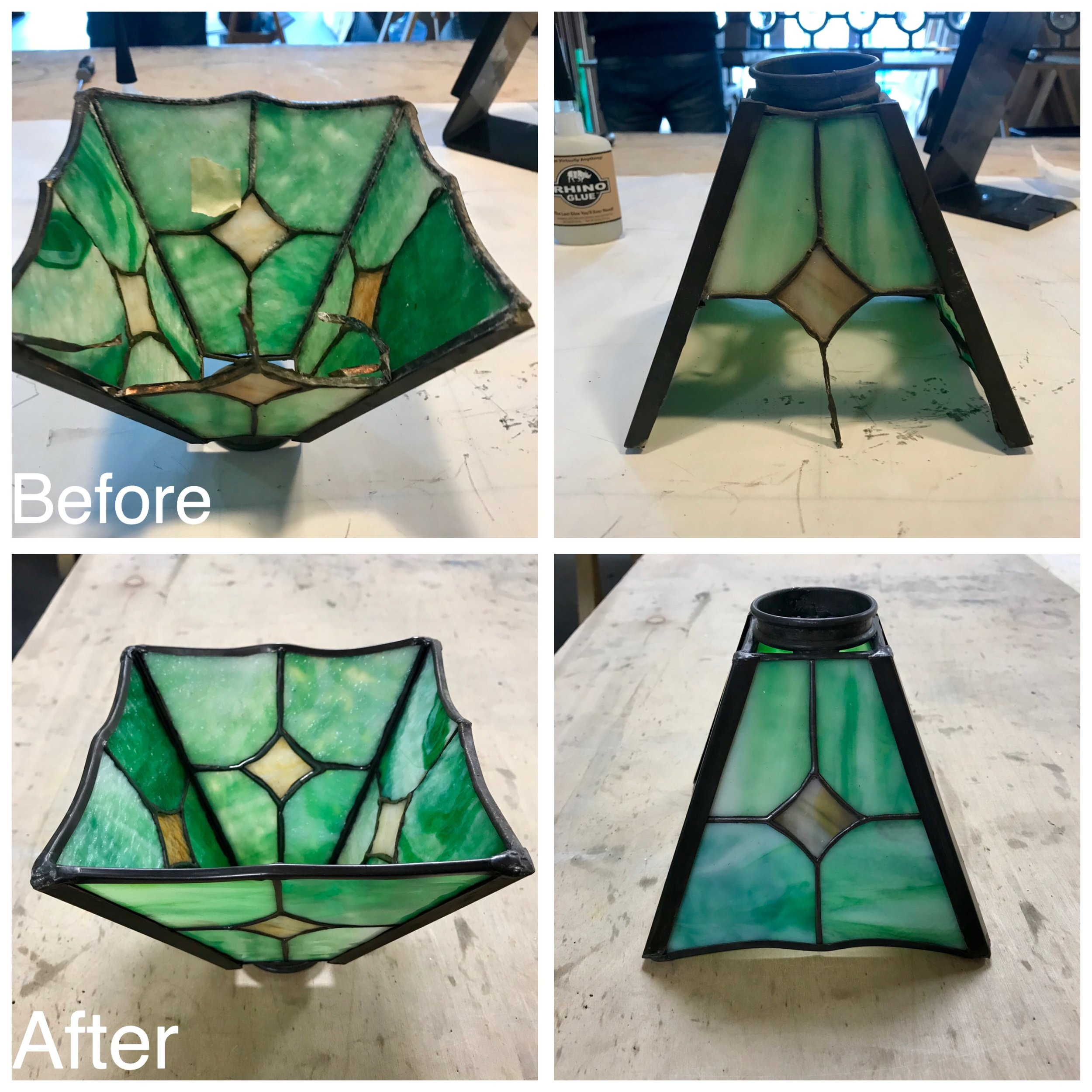 leaded glass stained glass art glass bay area custom design legacy glass studios repair restoration lampshade green antique copper foil textured broken frame old metal.JPG