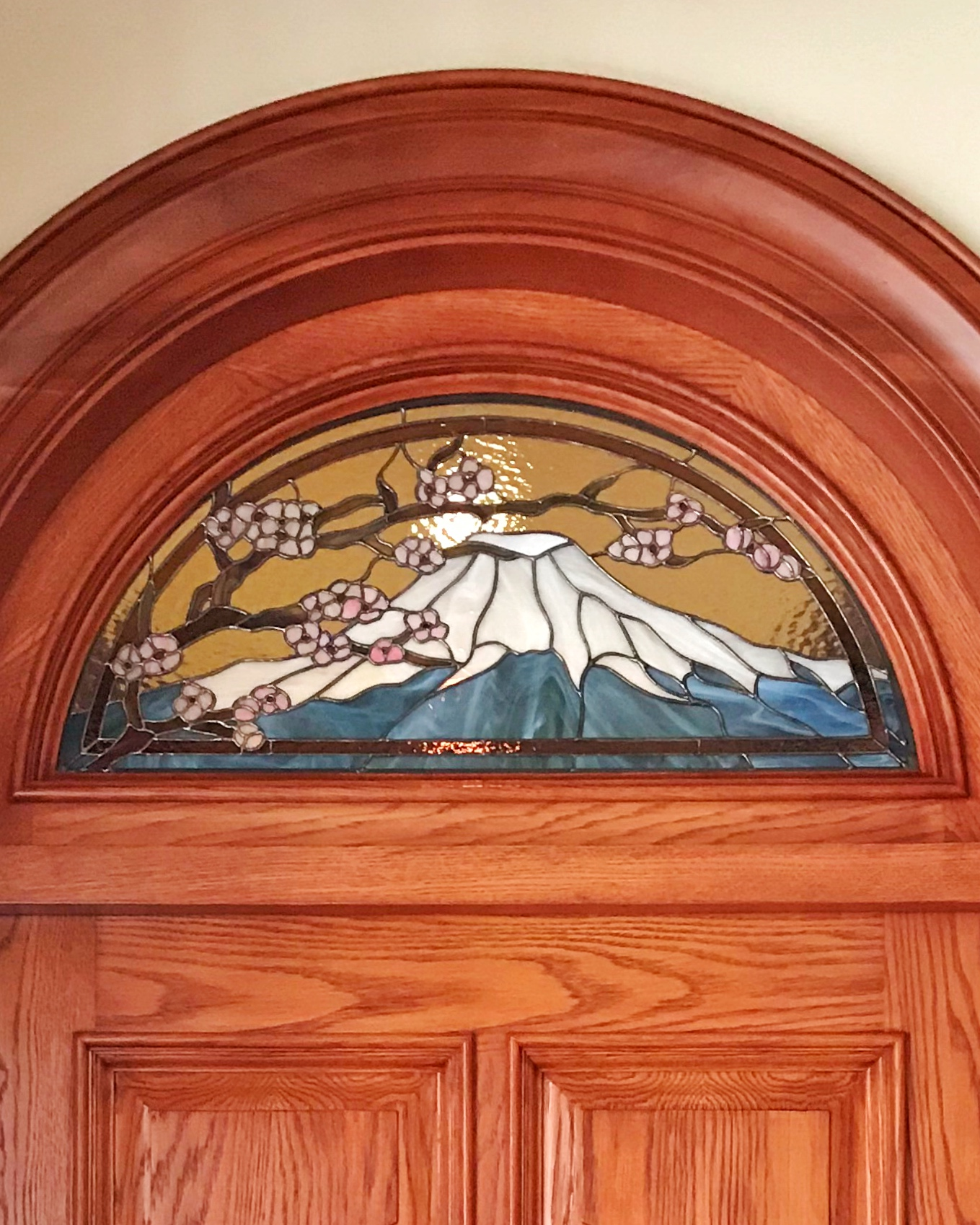 mt fuji stained glass copper foil design spectrum backlit glass transom door custom art glass legacy glass studios california portola valley bay area backlit close up.jpg