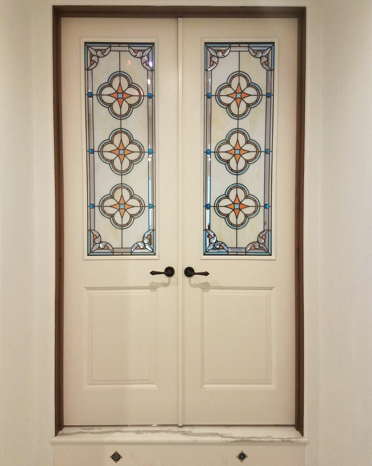 spanish star design quatrefoil traditional french doors leaded glass stained glass insulated unit art glass custom beveled stained glass legacy glass studios palo alto california home renovation.jpg