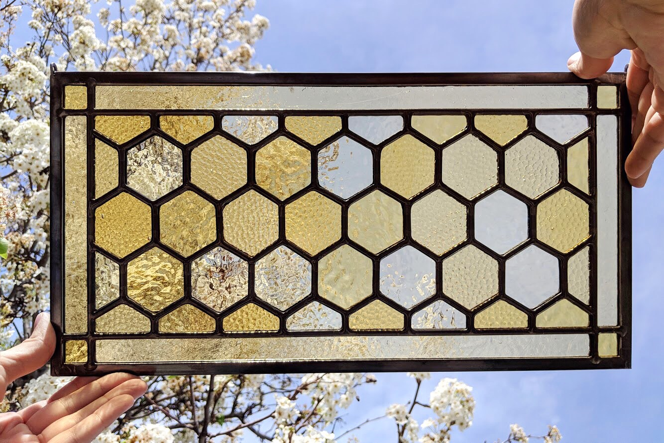 stained glass leaded glass design legacy glass studios menlo park bay area california custom design honeycomb pattern gradient textured glass.JPG