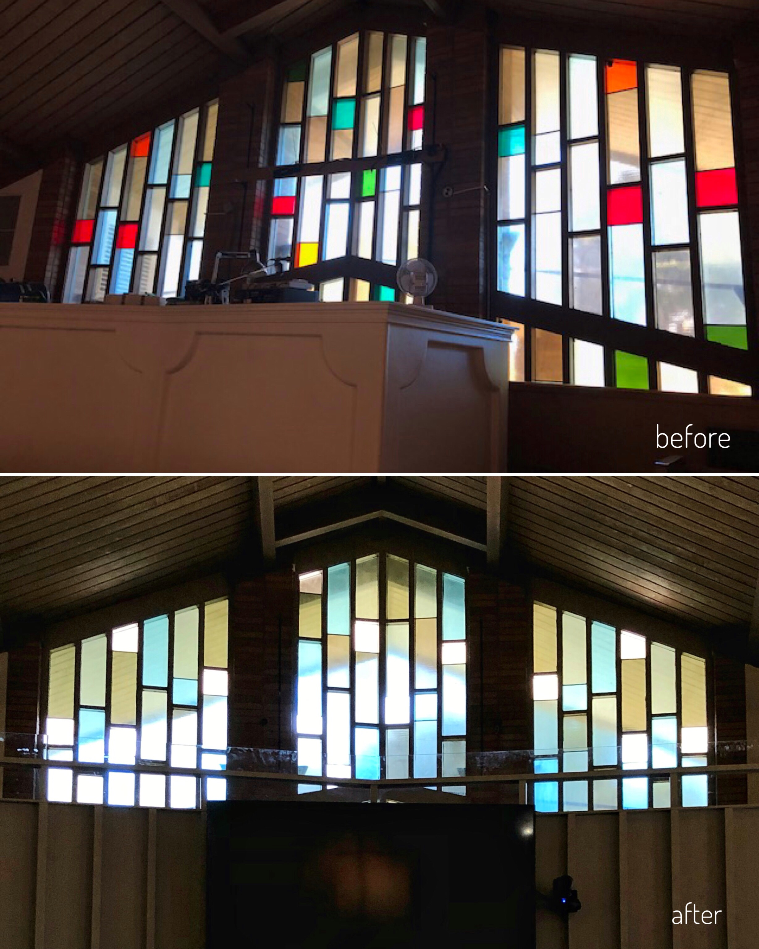 stained glass church window renovation update natural tones california before and after.jpg
