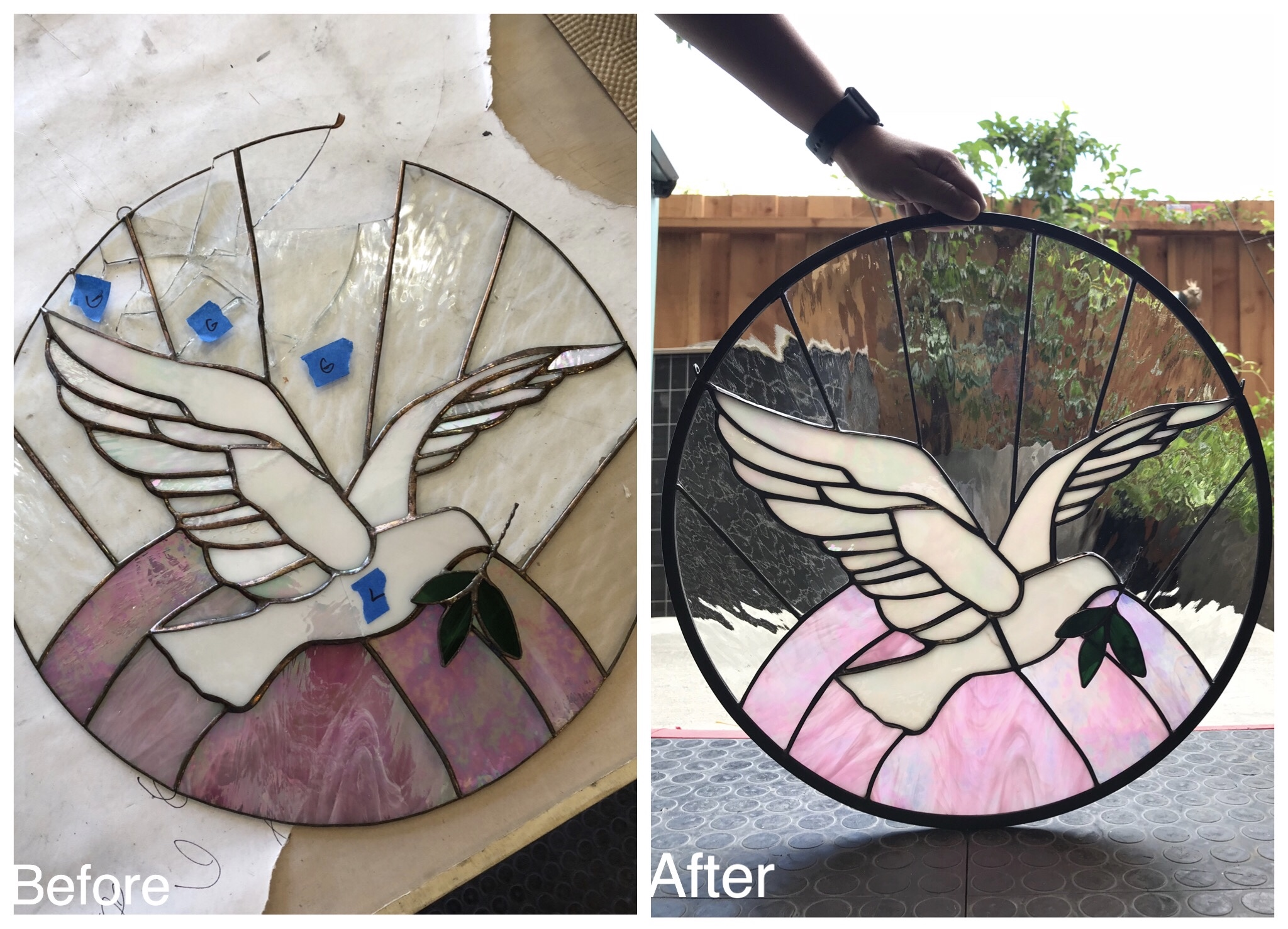 stained glass copper foil repair before and after circle raised 3d dove design legacy glass studios california.jpg