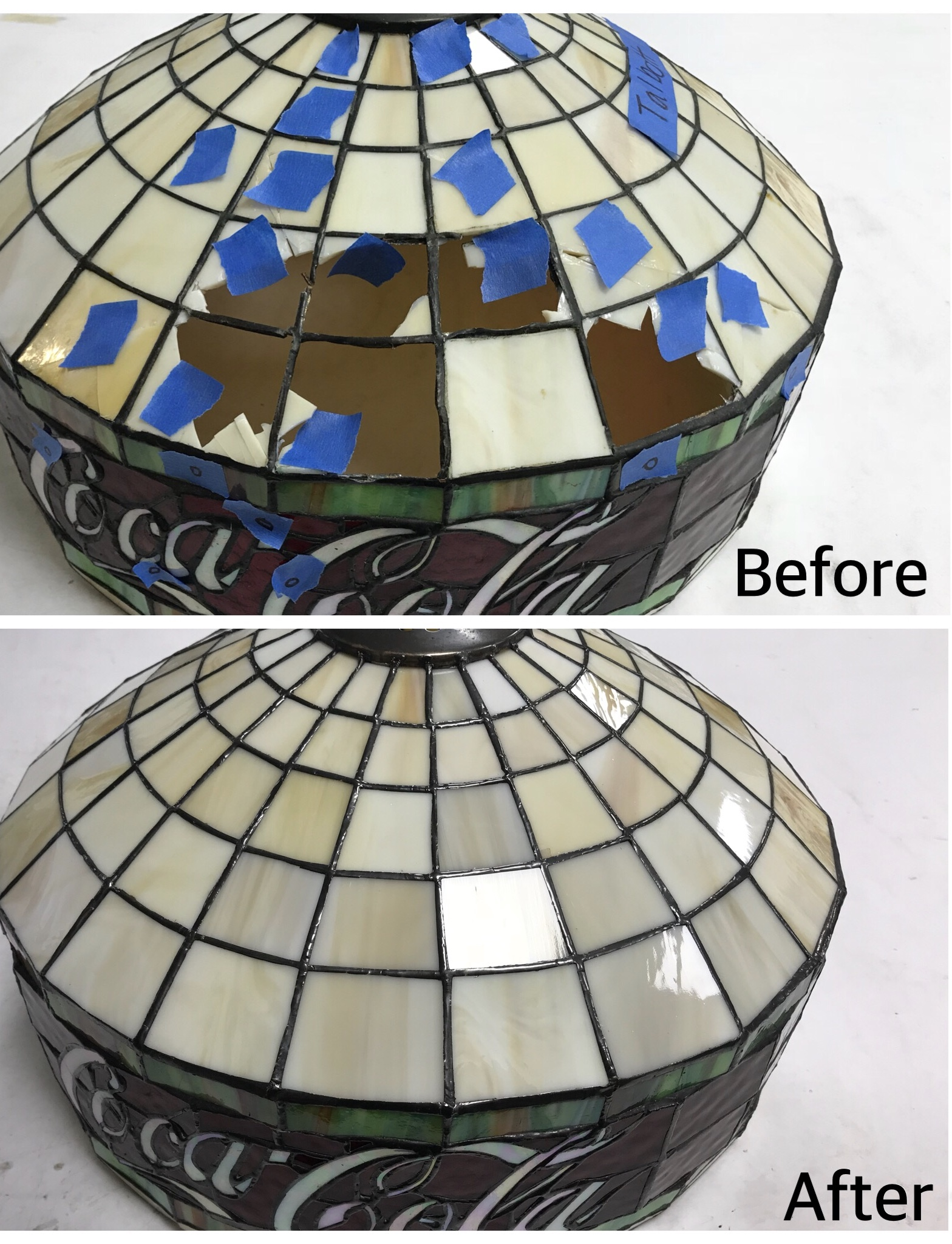 stained glass coca-cola lampshade repair before and after legacy glass studios california.jpg