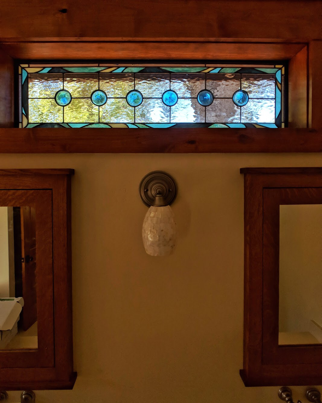 stained glass leaded glass design legacy glass studios menlo park bay area california custom design insulated window waterglass mouth blown rondel craftsman home ocean inspired spa bathroom.JPG