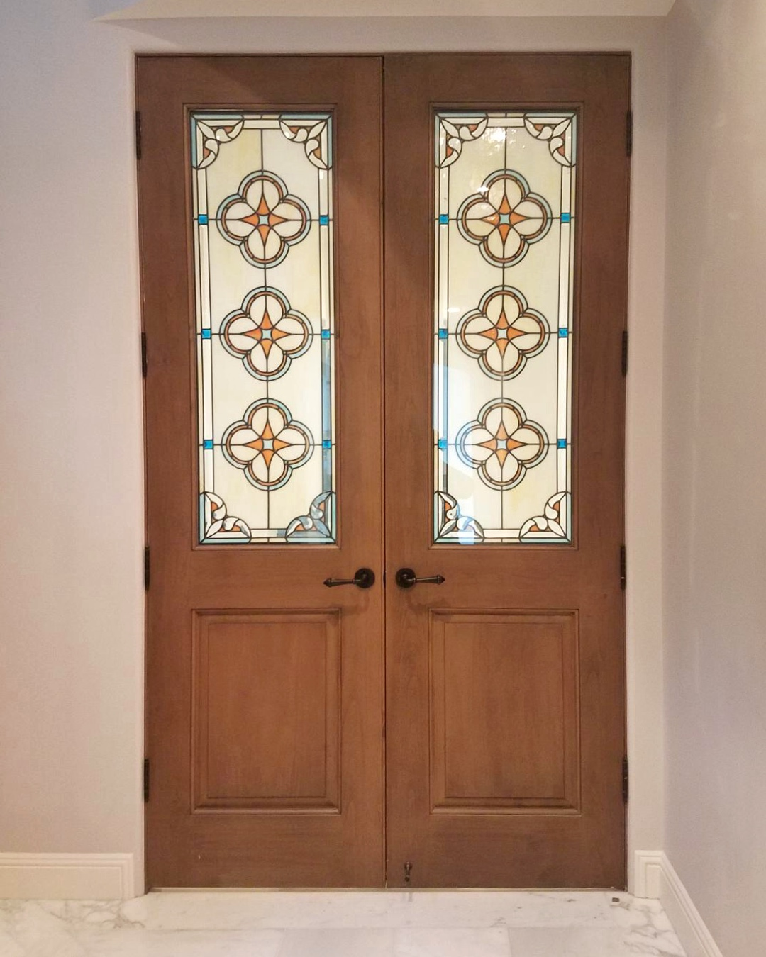 spanish star design quatrefoil french doors leaded glass stained glass insulated unit art glass custom beveled stained glass legacy glass studios palo alto california home renovation.jpg