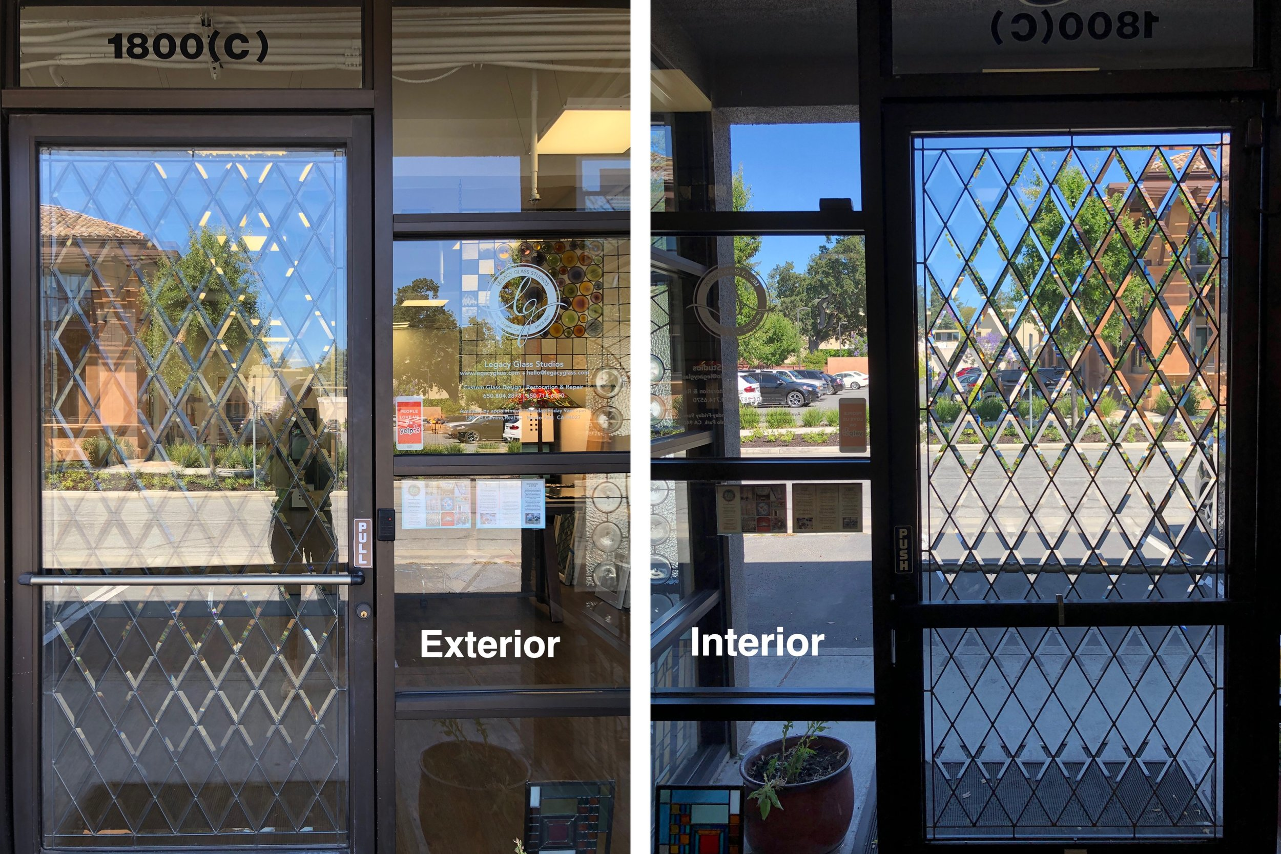 Our office's front door is a great example of how insulated glass can look from the exterior.