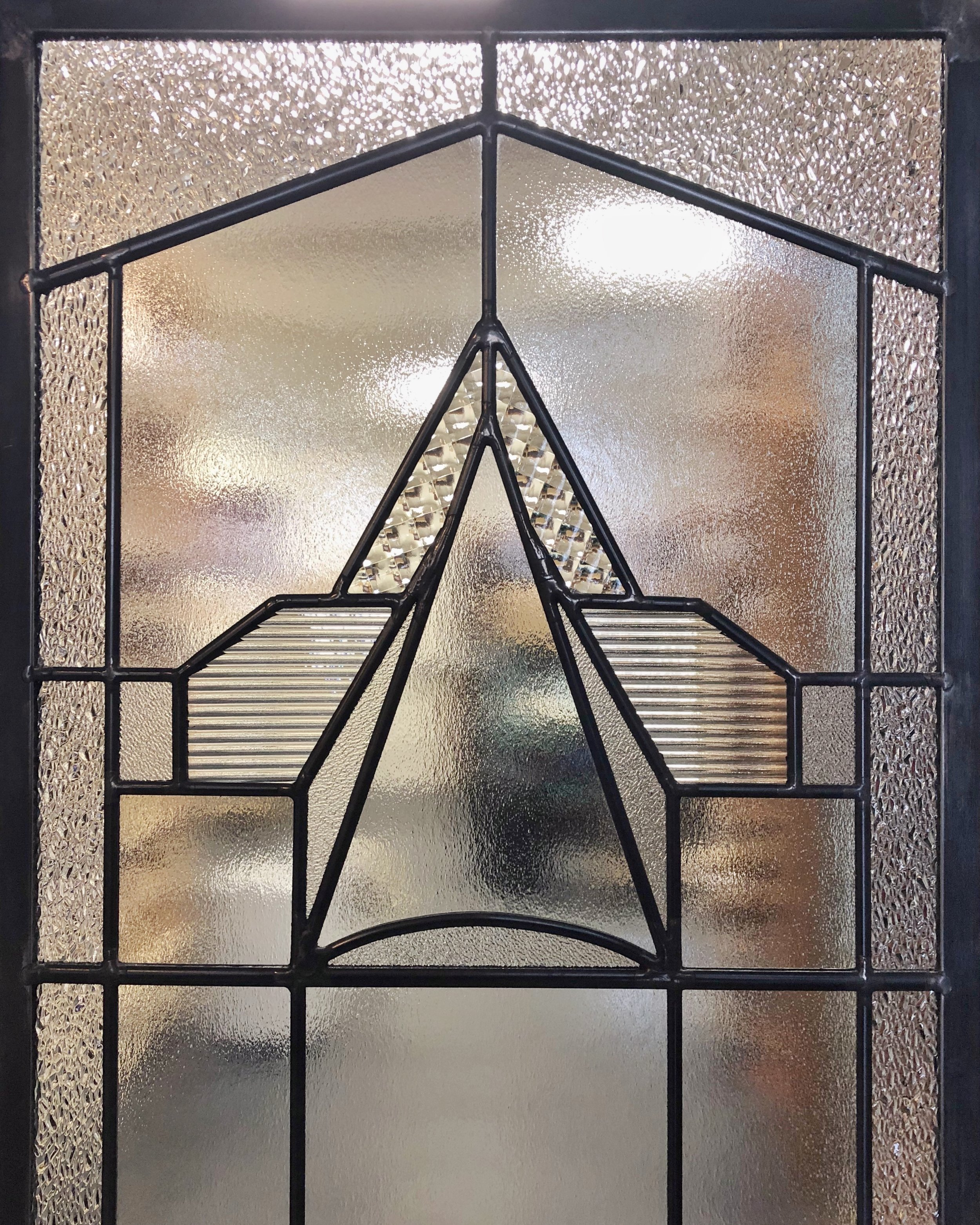 art deco leaded glass custom design palo alto california legacy glass studios high end homes privacy glass window 1920s style geometric stained glass satin reeded cross reed.jpg