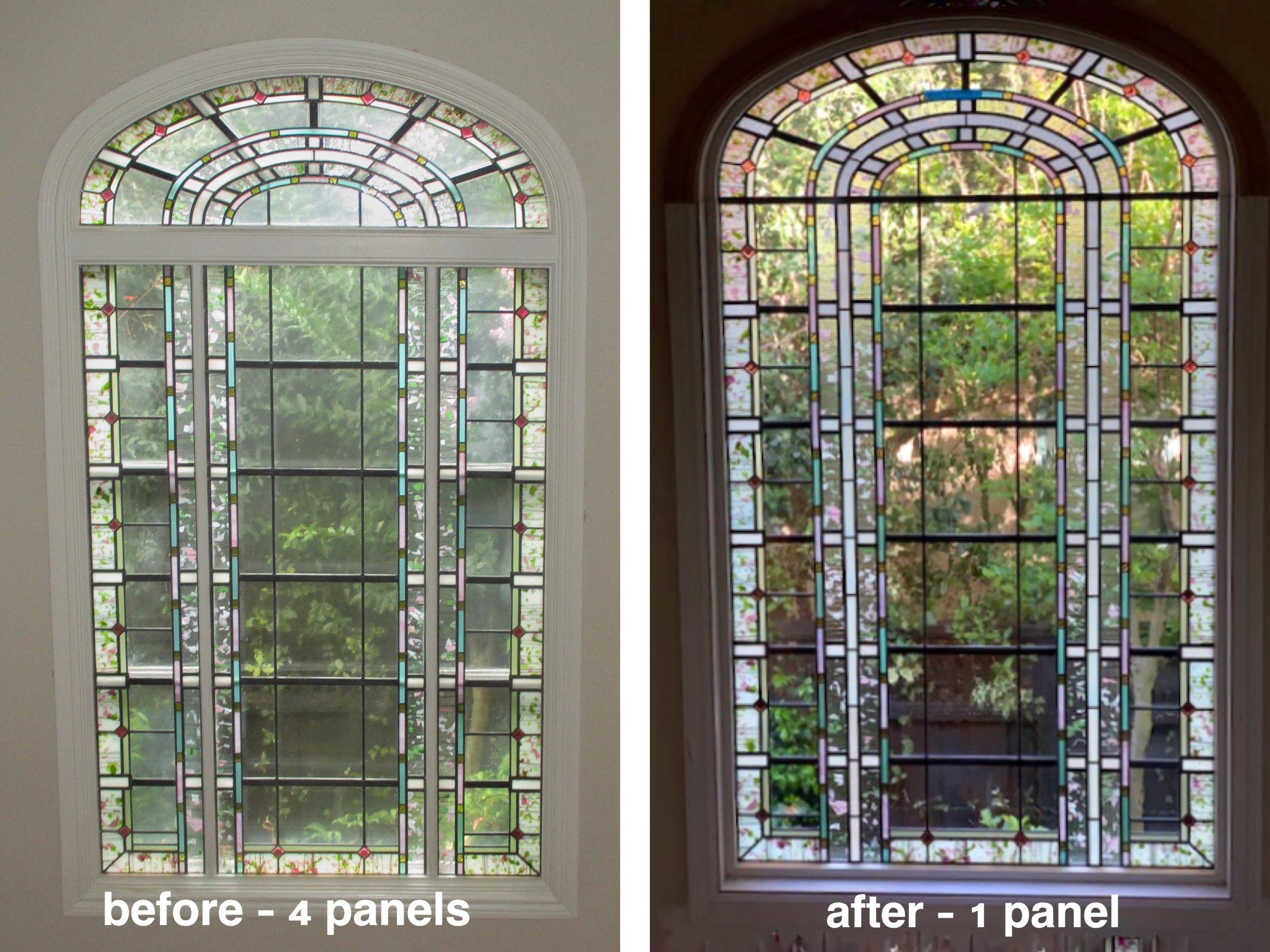 leaded glass stained glass art glass bay area custom design legacy glass studios repurpose triple insulated jewels big arch border.JPG