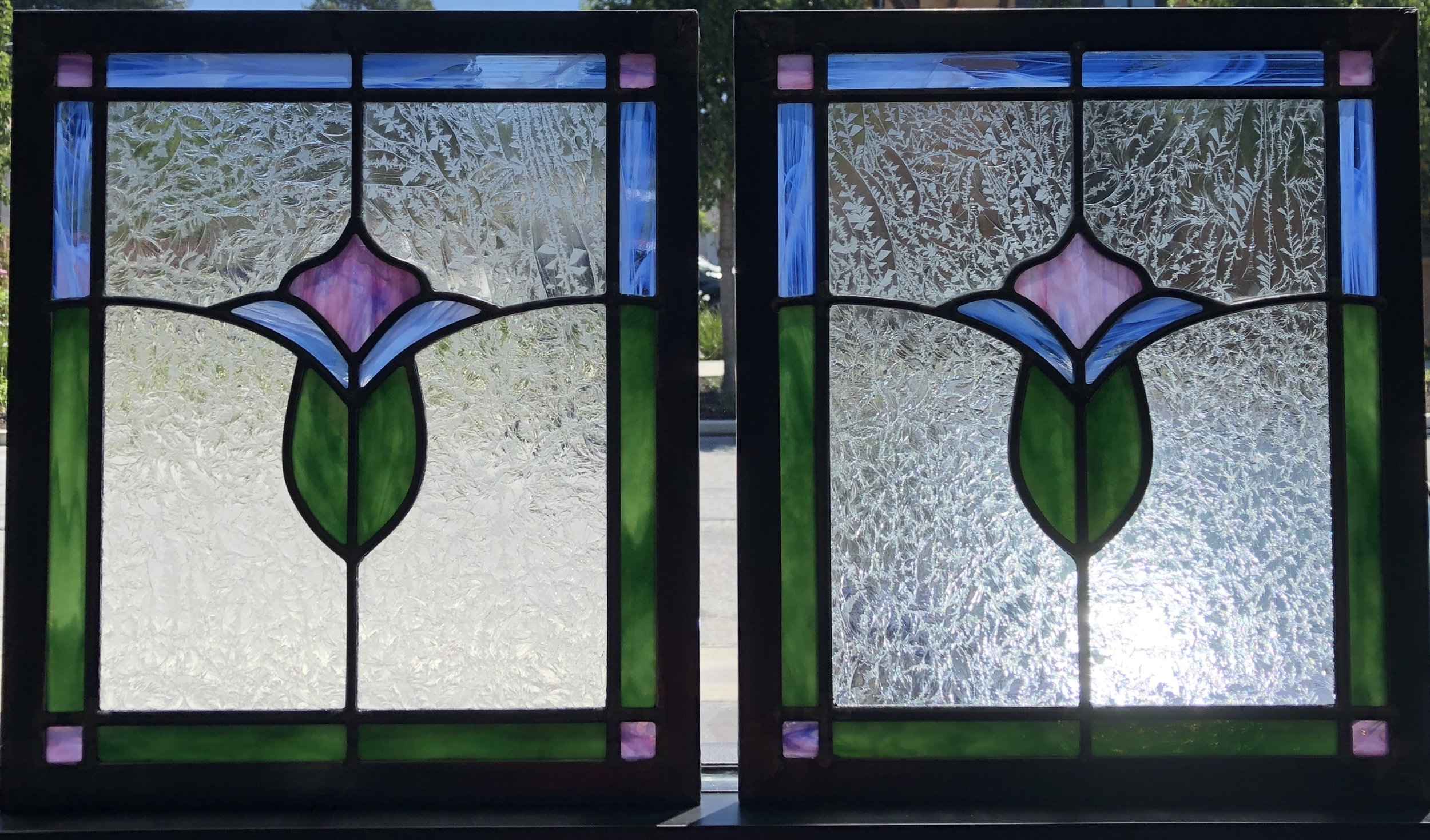 custom stained glass leaded glass craftsman floral motif glue chip front door glass insert whimsical colorful.jpg