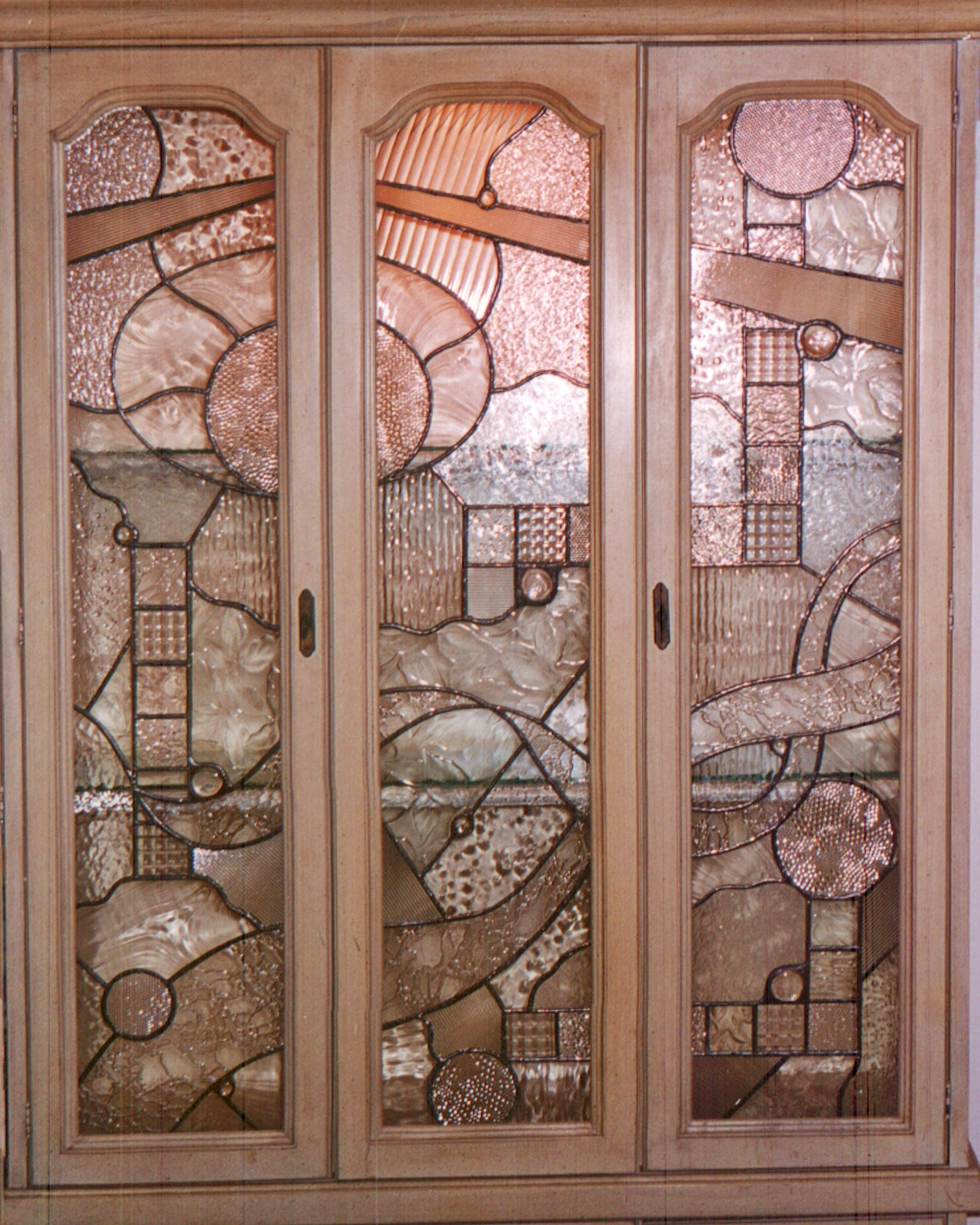 custom leaded glass cabinet inserts abstract geometric design privacy glass obscure cabinet door glass legacy glass studios.jpg