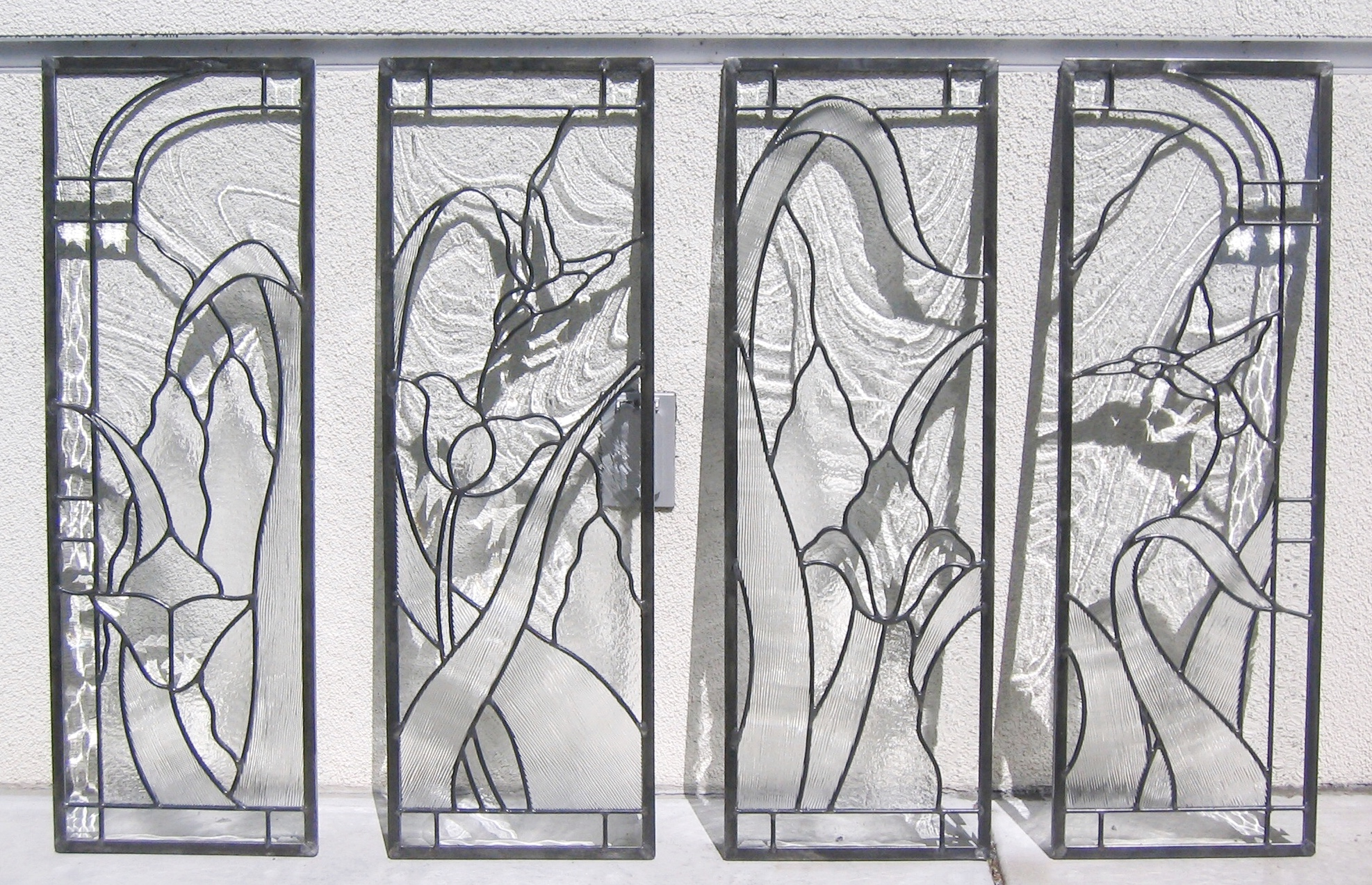 custom leaded glass cabinet door inserts kitchen hutch clear textured obscure privacy glass hummingbird garden floral design shadowplay.jpg