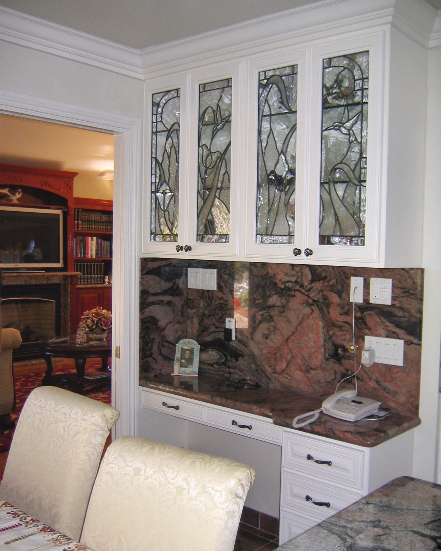 custom leaded glass cabinet door inserts kitchen hutch clear textured obscure privacy glass hummingbird garden floral design.jpg