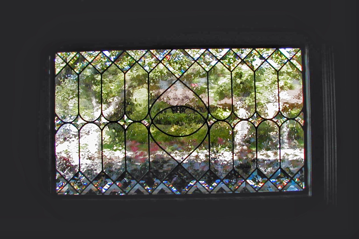 custom leaded glass stained glass beveled diamond window insert traditional linear seeded glass obscure privacy glass legacy glass studios interior.jpg
