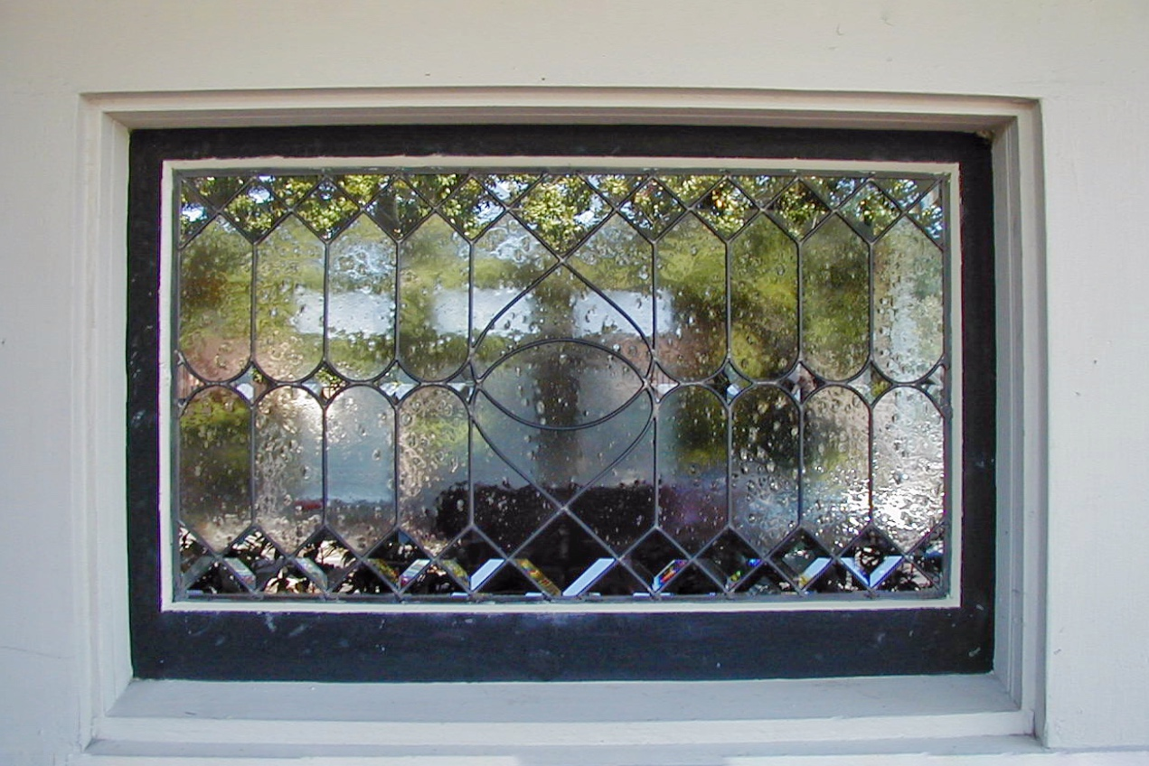 custom leaded glass stained glass beveled diamond window insert traditional linear seeded glass obscure privacy glass legacy glass studios exterior.jpg