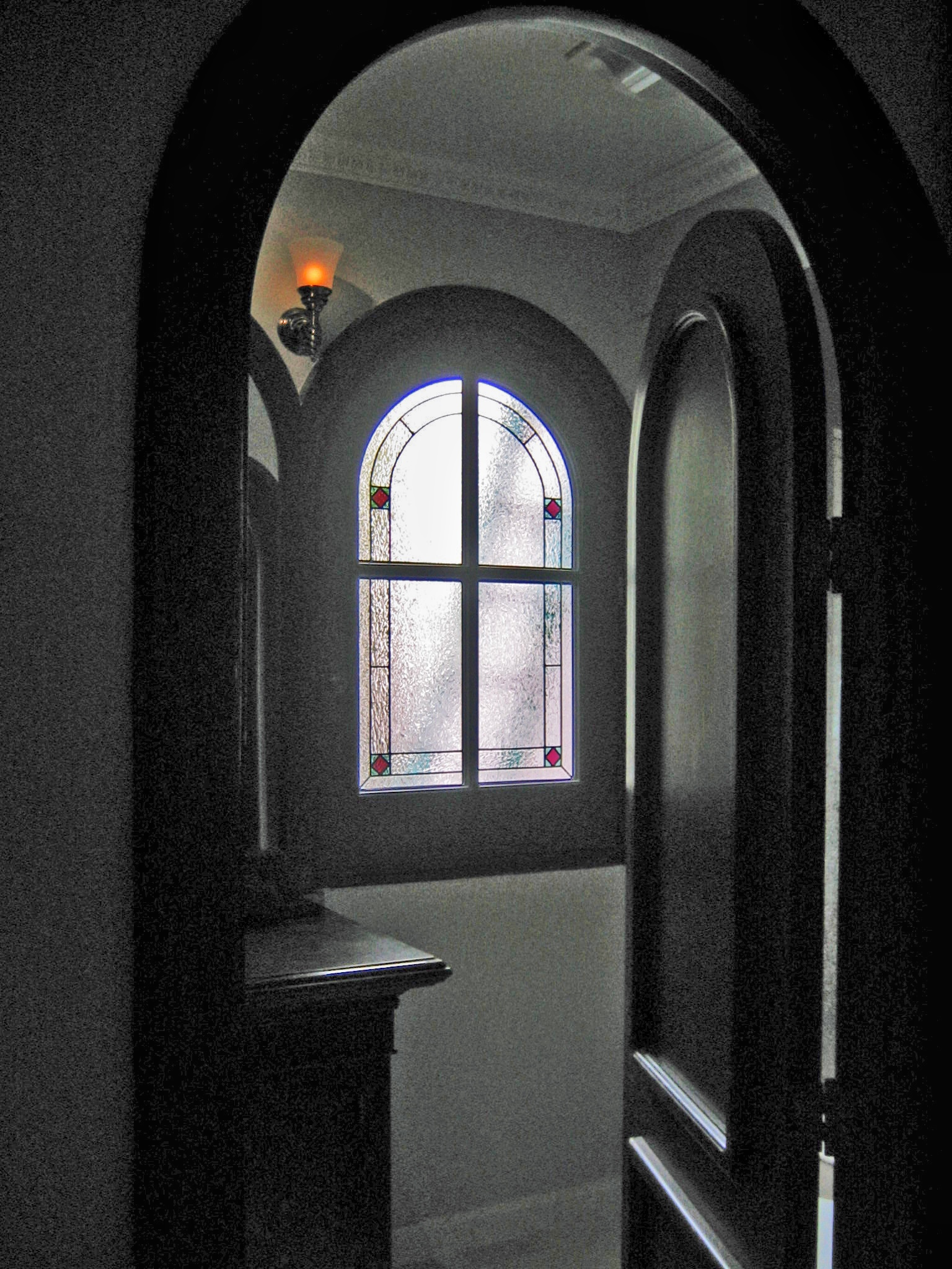 arched divided lite window custom stained glass privacy bathroom simple glue chip.jpg
