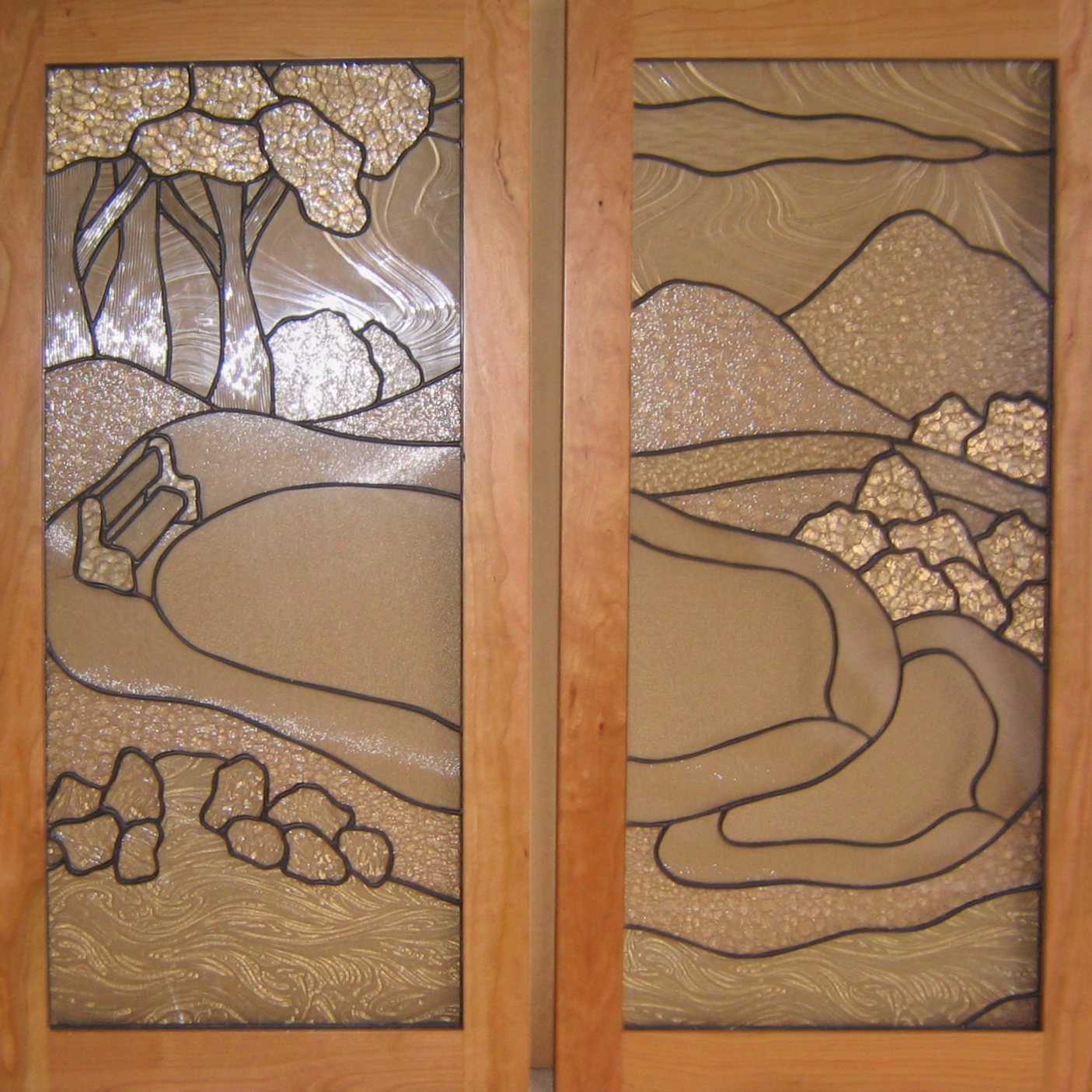 custom leaded glass cabinet door inserts butlers pantry wet bar cabinets landscape pond glass design clear textures obscure legacy glass studios.jpg