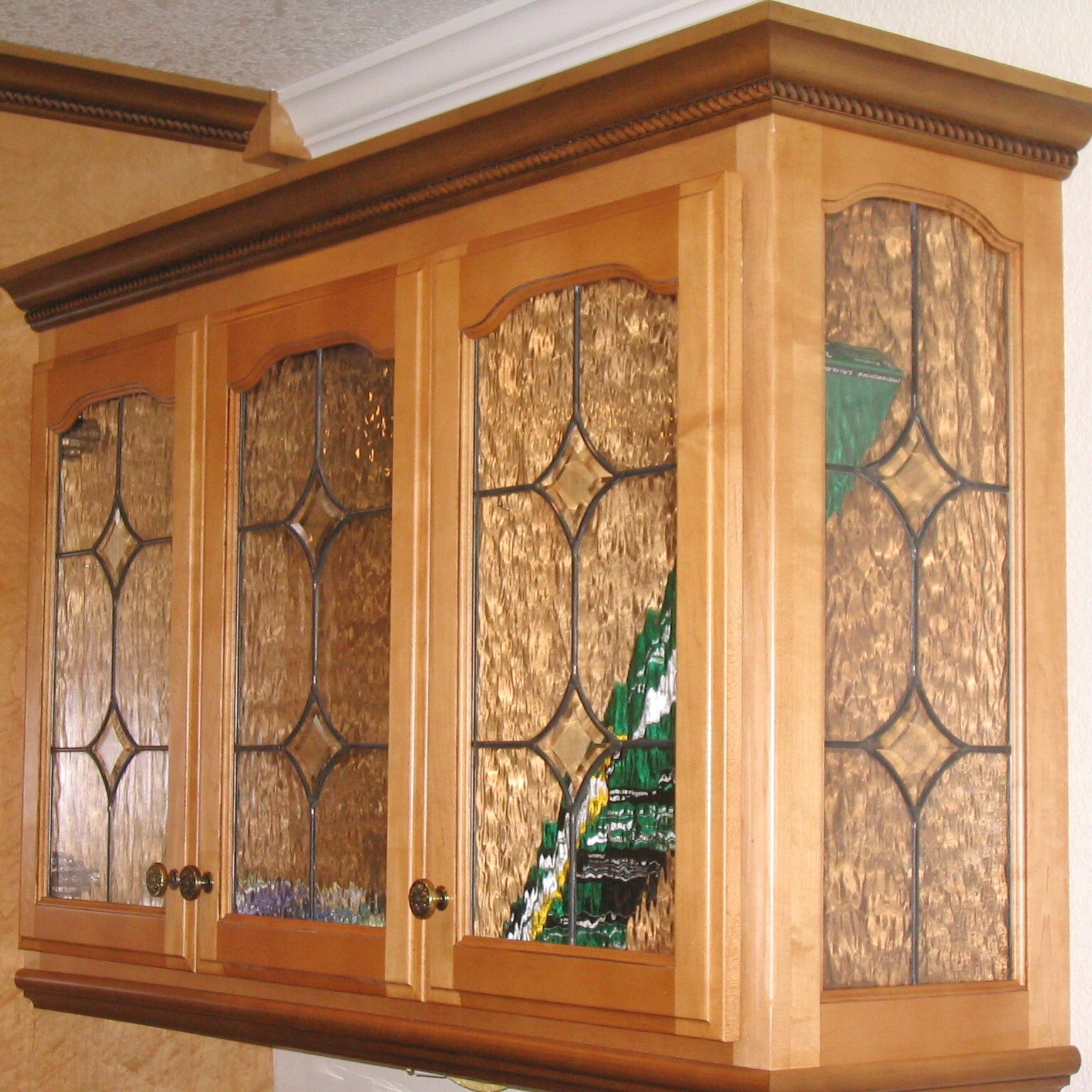 custom leaded glass cabinet door inserts waterglass clear textured privacy glass beveled star diamond pattern eyebrow arch top legacy glass studios.jpg