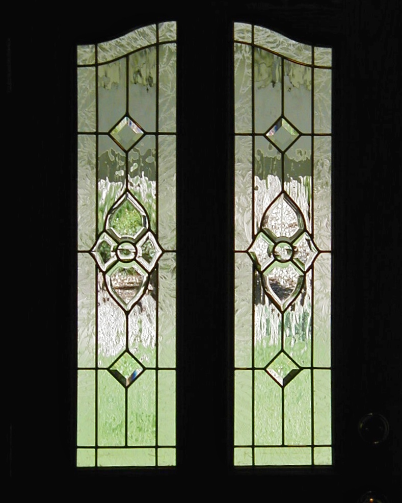 custom leaded glass stained glass beveled bevel cluster front door arched split window waterglass glue chip privacy glass diamond pattern legacy glass studios.jpg