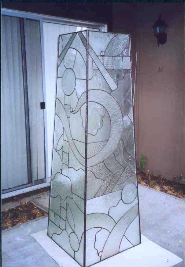 custom leaded glass stained glass sculpture sculptural garden piece tower clear textures privacy glass obscure legacy glass studios.jpg