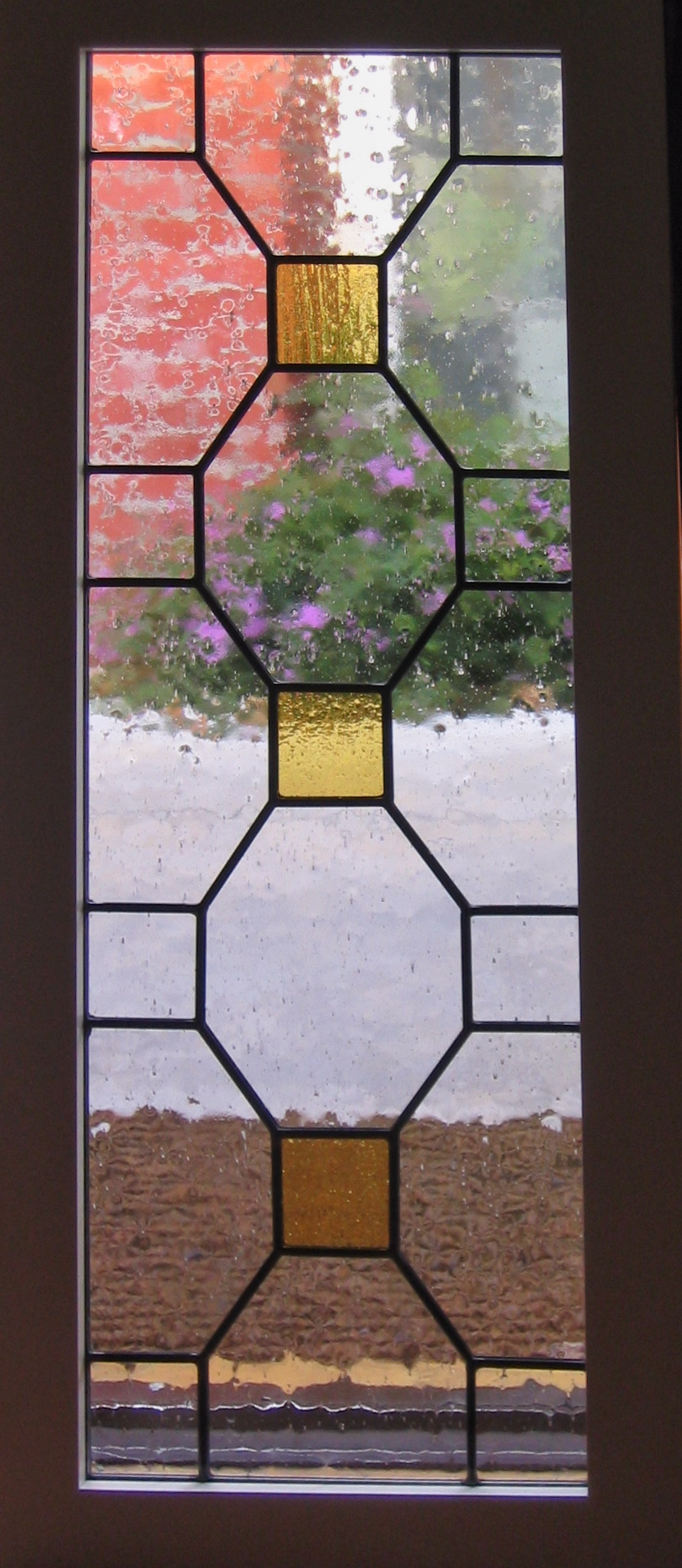 custom stained glass leaded glass craftsman home geometric design square pattern seeded glass amber legacy glass studios.jpg