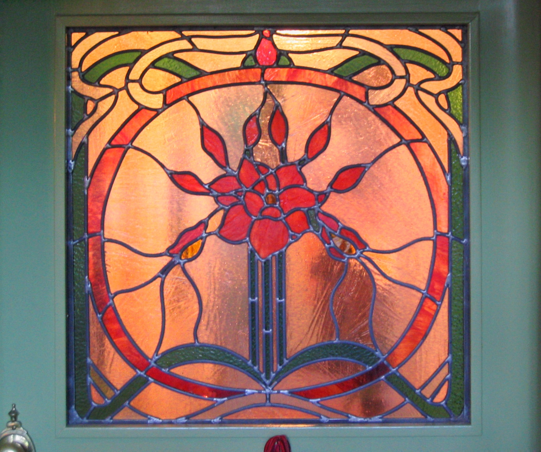 custom stained glass leaded glass front door window insert art deco rose medallion motif round victorian art nouveau privacy glass legacy glass studios.jpg