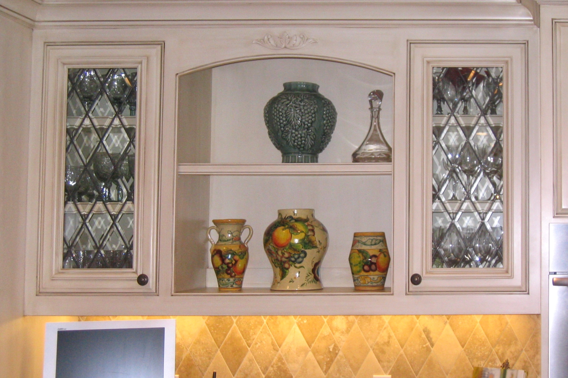 custom leaded glass cabinet door inserts butlers pantry wet bar cabinets traditional beveled diamond glass design legacy glass studios.jpg