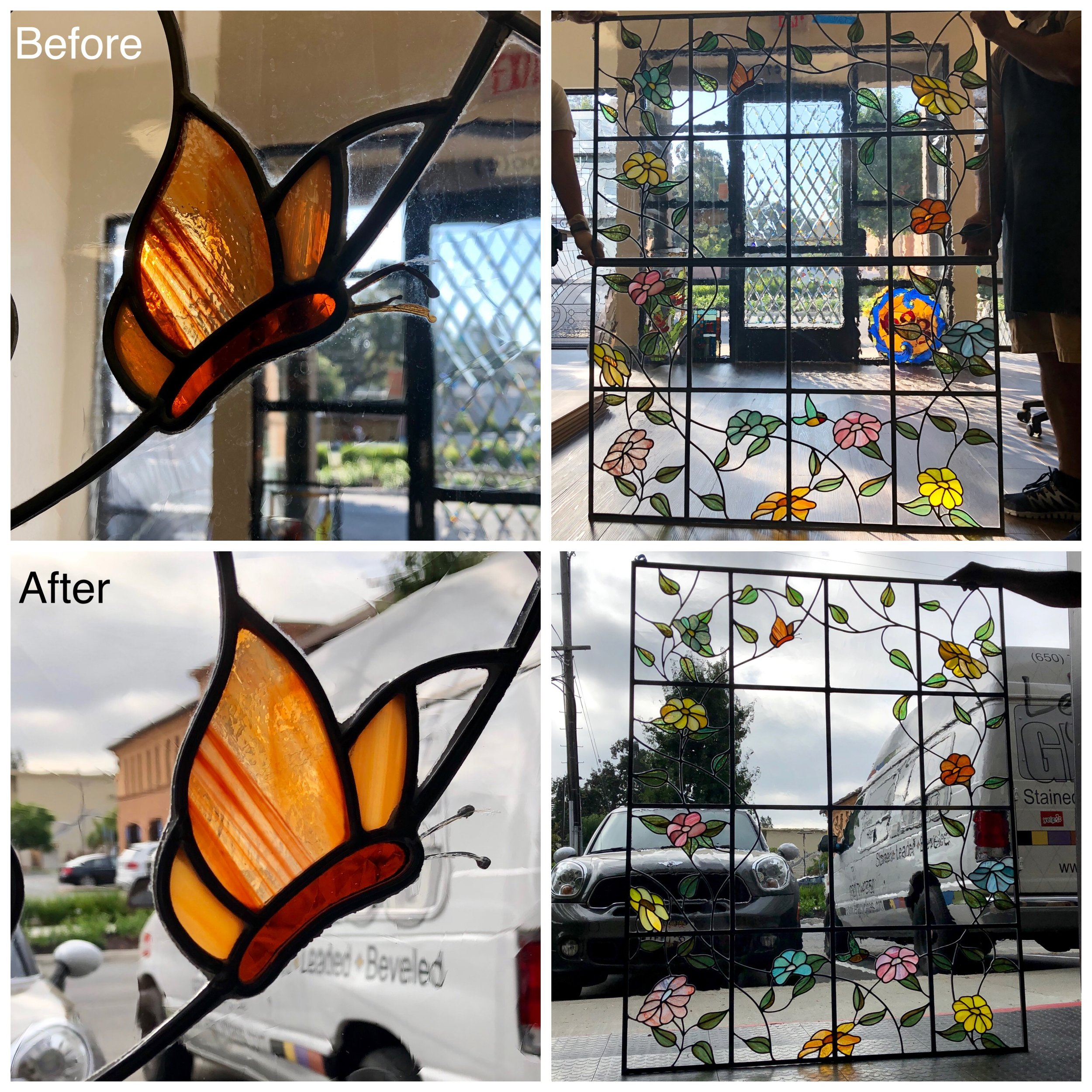 stained glass repair bay area legacy glass studios copper foil wire butterfly.jpg