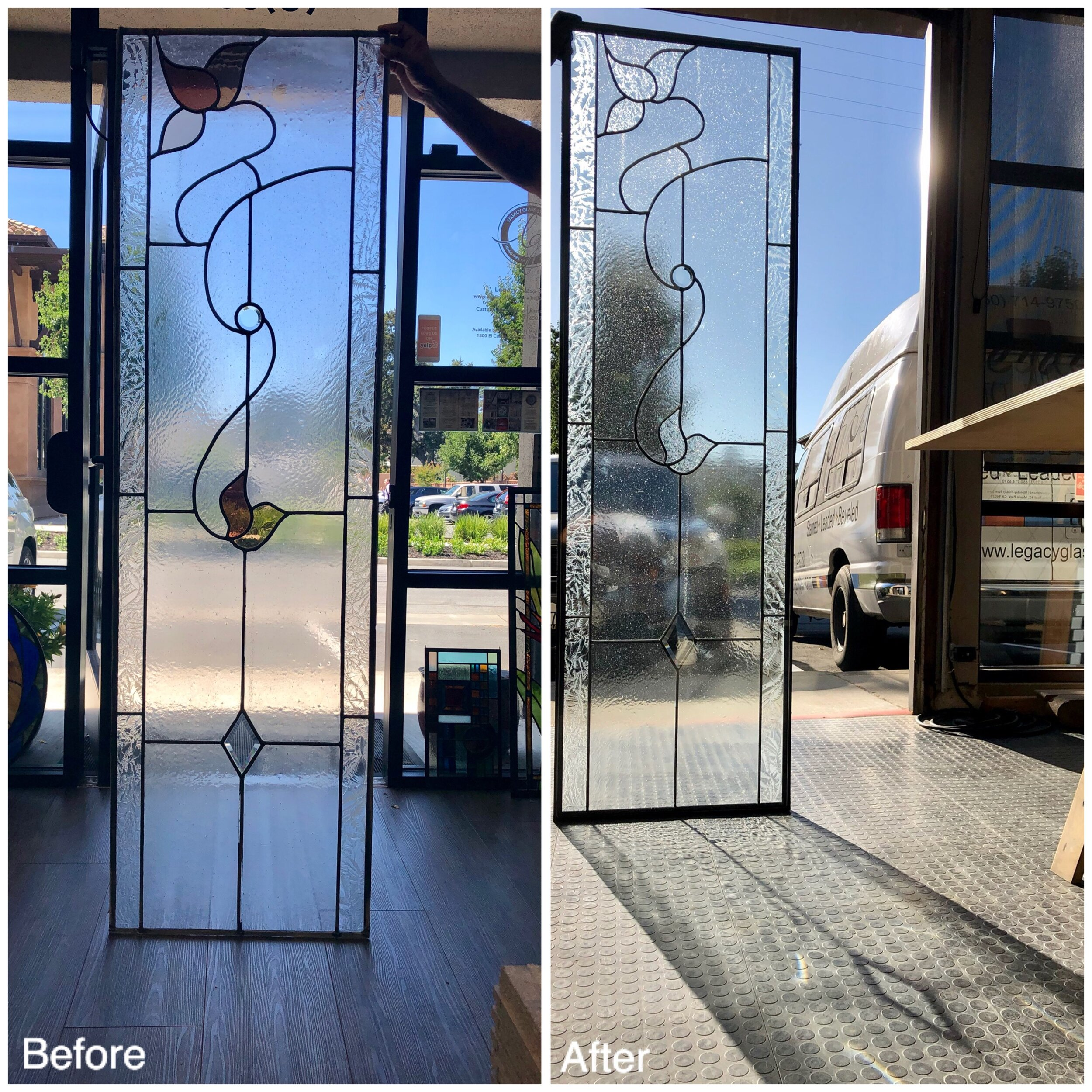 insulated leaded glass stained glass custom design california legacy glass studios leaves clear texture side light front entry way.jpg