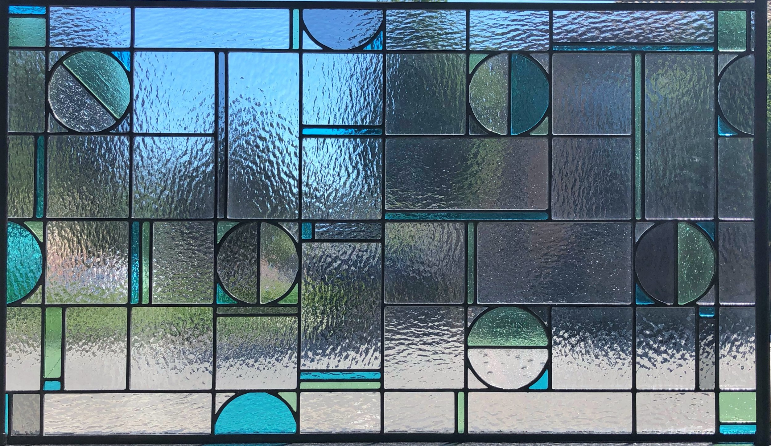 Stained leaded glass custom privacy modern circle obscure legacy bay area accent colors.jpg