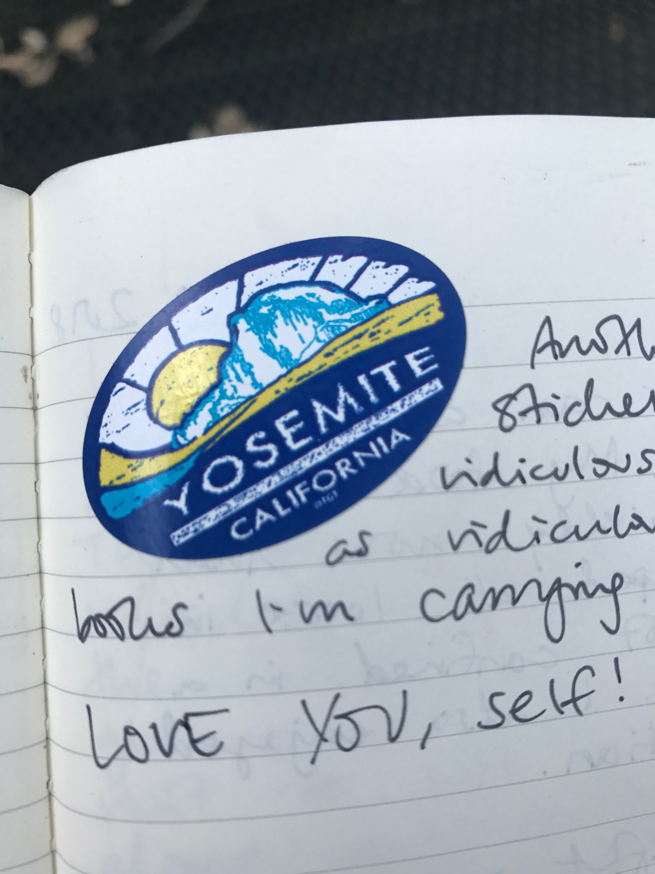 """Another Yosemite sticker . . . LOVE YOU, self!"""