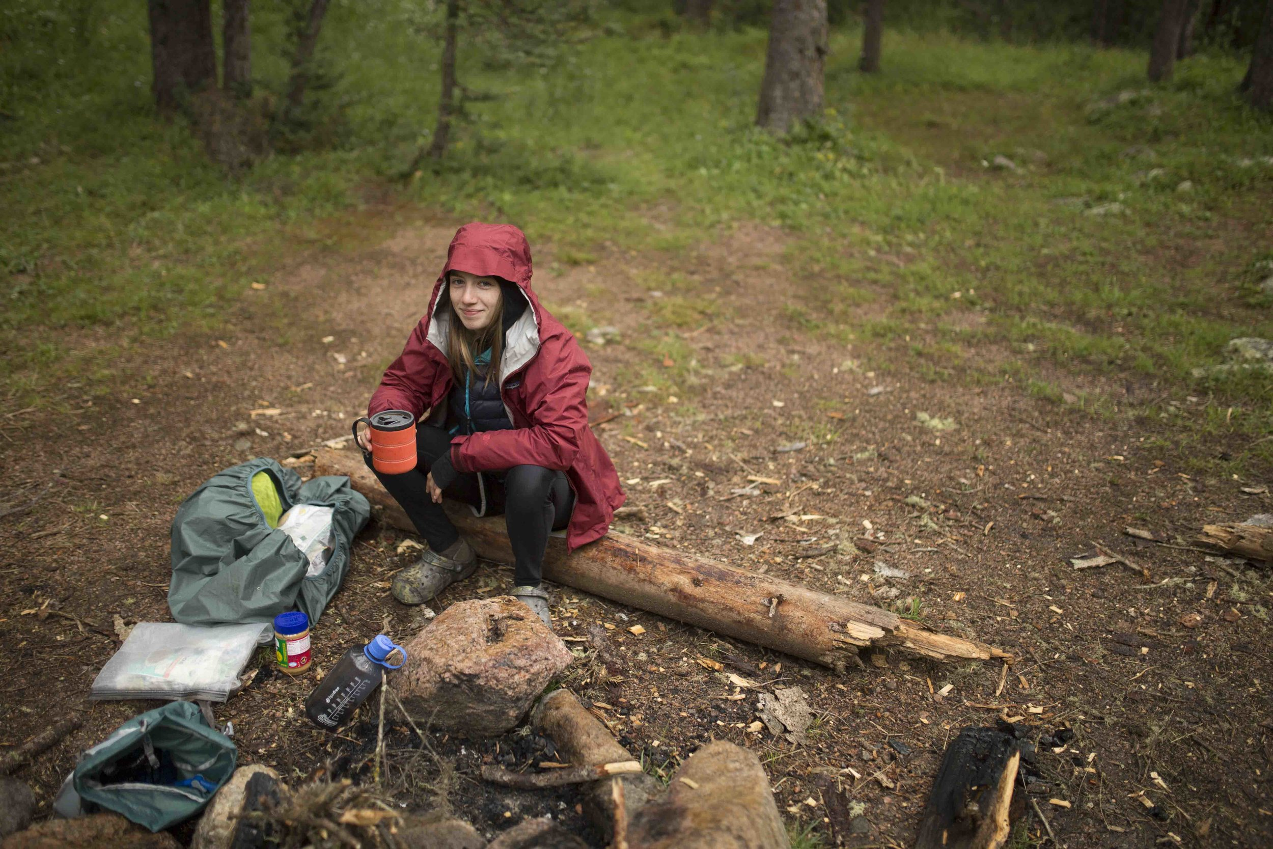 Here I am at a typical morning at camp, which, just like in real life,  always  starts with coffee. Photo from a trip to Colorado's Weminuche Wilderness, shot by  Cameron Mosier .