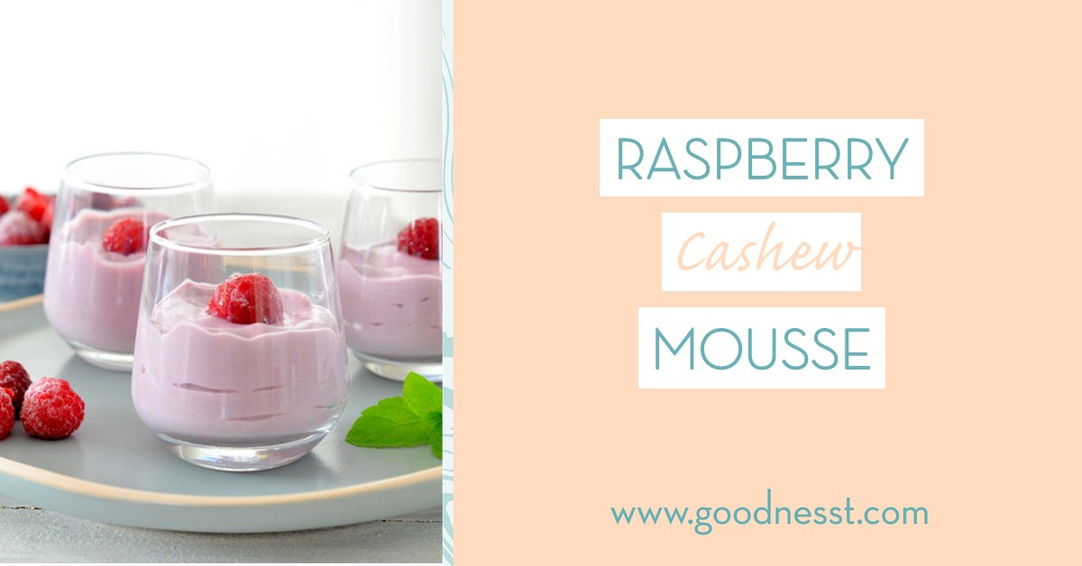 Sweet treat, dessert, fruit, raspberry, vegan, raw, cashew, dairy-free, egg-free - recipe - raspberry mousse - goodnesst - amelie van der aa