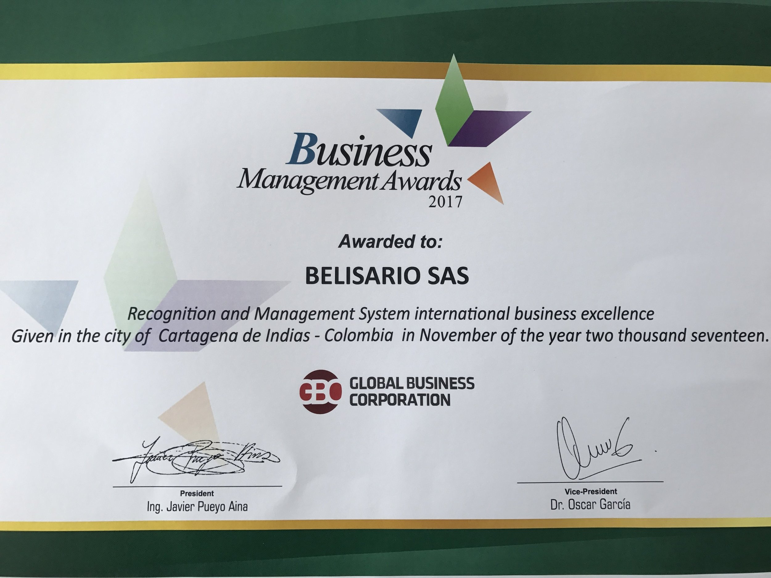 Certificado premio Business Management