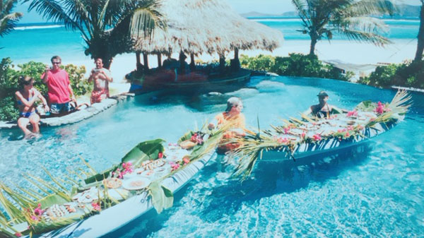 The weekly Sushi lunch in the pool on Necker Island.