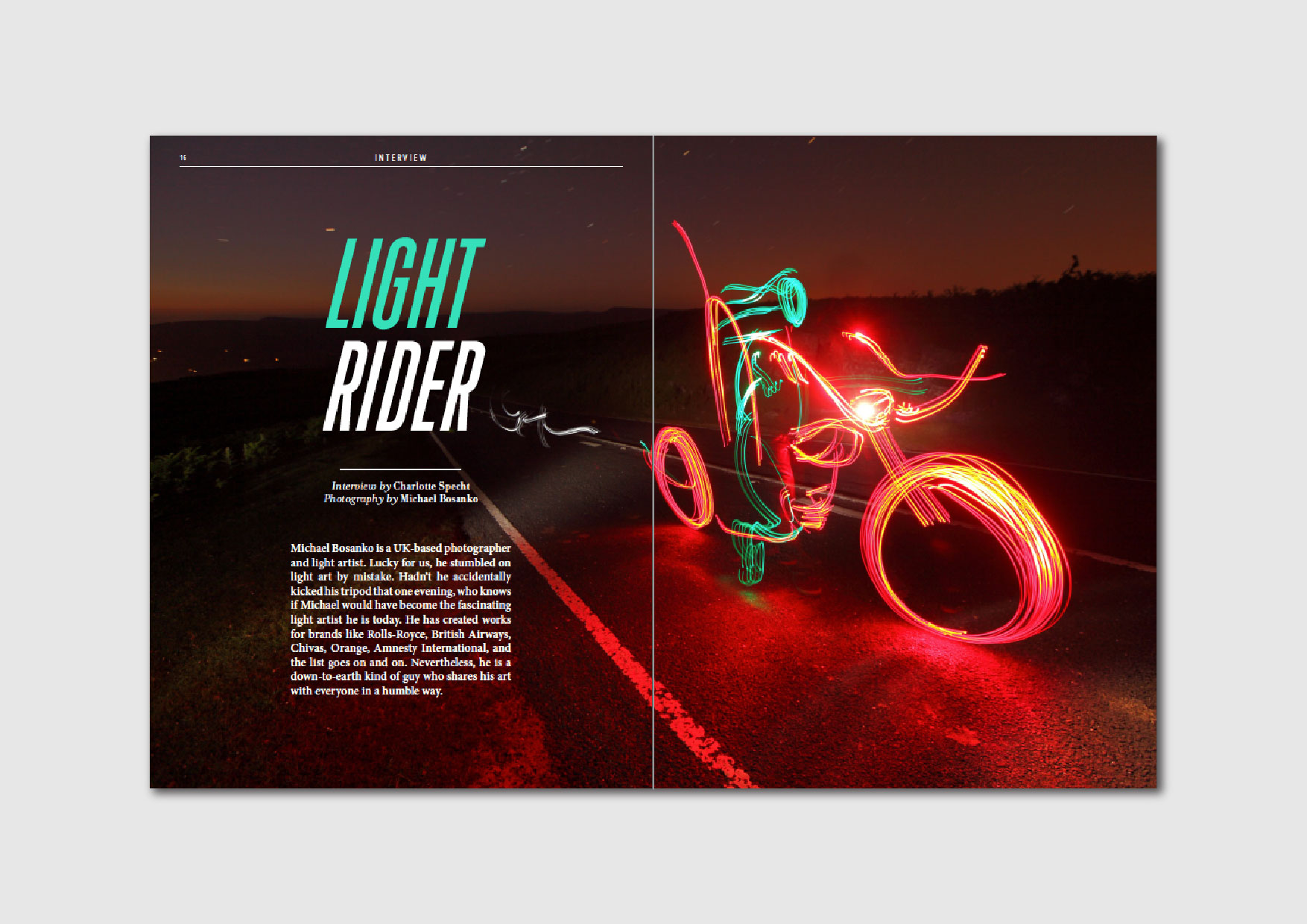 Light Rider:  interview with UK-based light artist Michael Bosanko