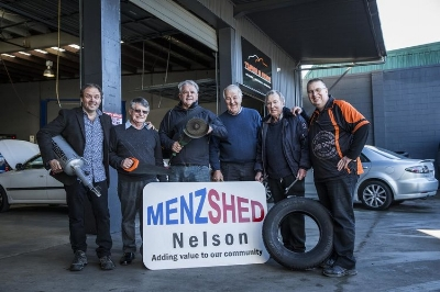 Motivators in the early stages of the Nelson Menzshed at the Tyres and More HQ.