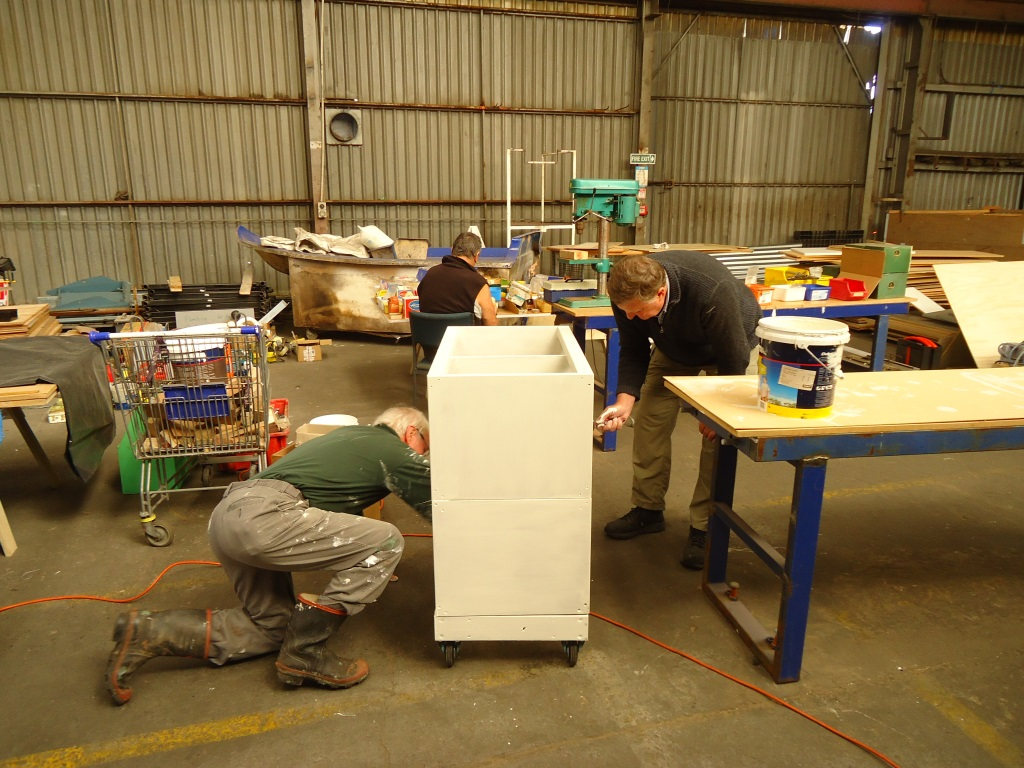 Painting the mobile tool trolleys