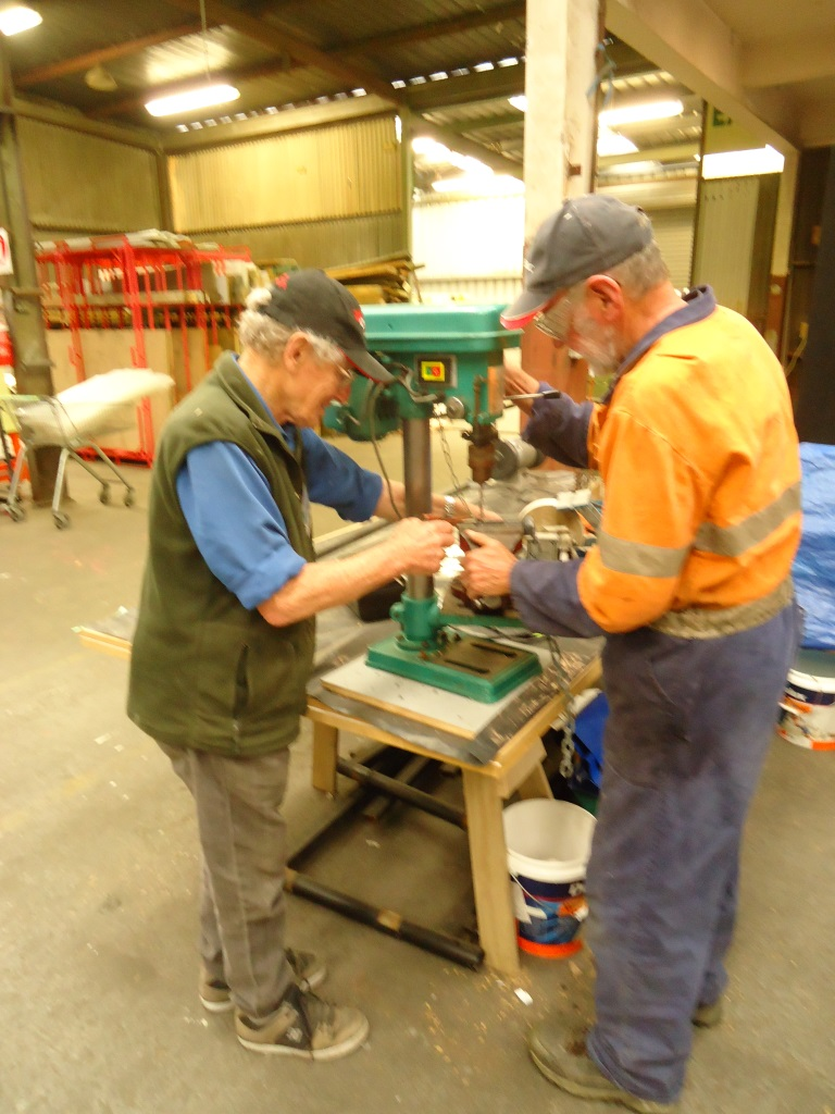Dave and Wayne drilling out a bolt for the Brook Sanctuary