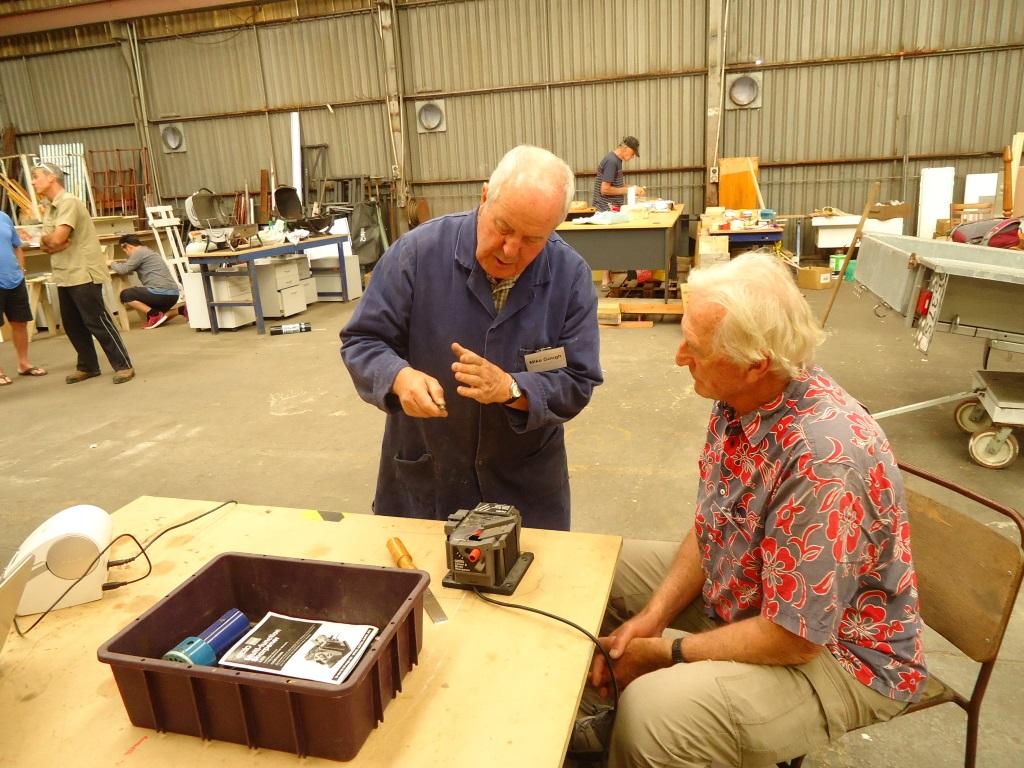 Mike demonstrates drill-bit sharpening