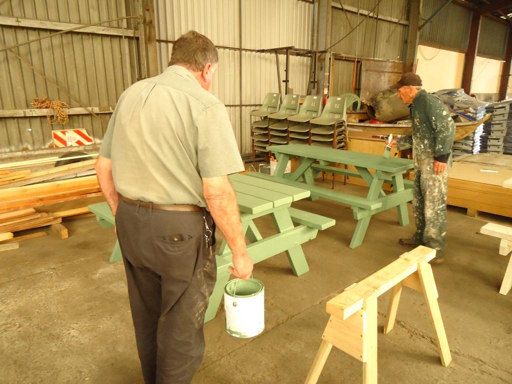 Intermediate pic-nic tables coated.