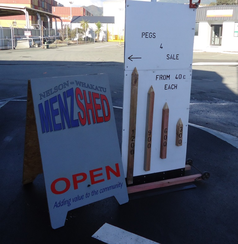 Pegs for Sale - We have pegs for sale from 40 cents each upwards depending on length. Drop in during activity times, Tuesday,Thursday and Sunday after 10 am, or place an order through the contacts page. Can be made to order.